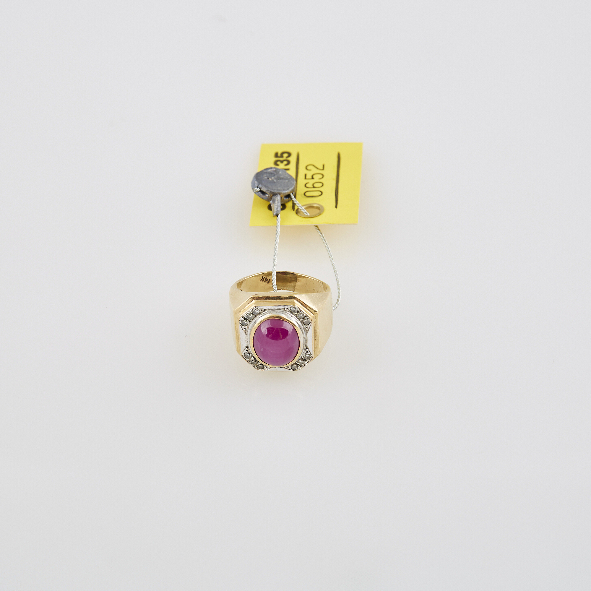 Lot image - Diamond and Stone Ring, 14K 6 dwt. all