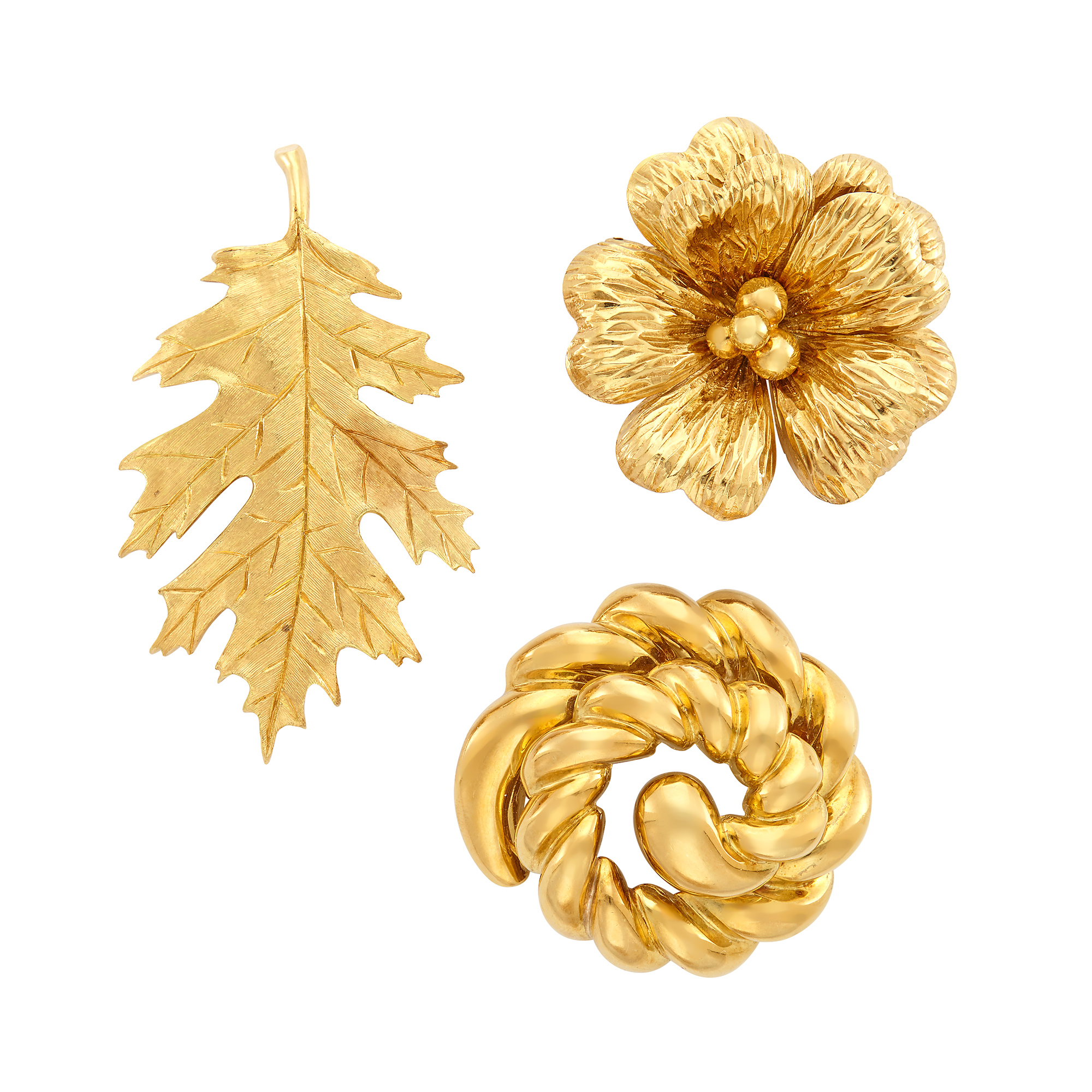 Lot image - Three Gold Brooches