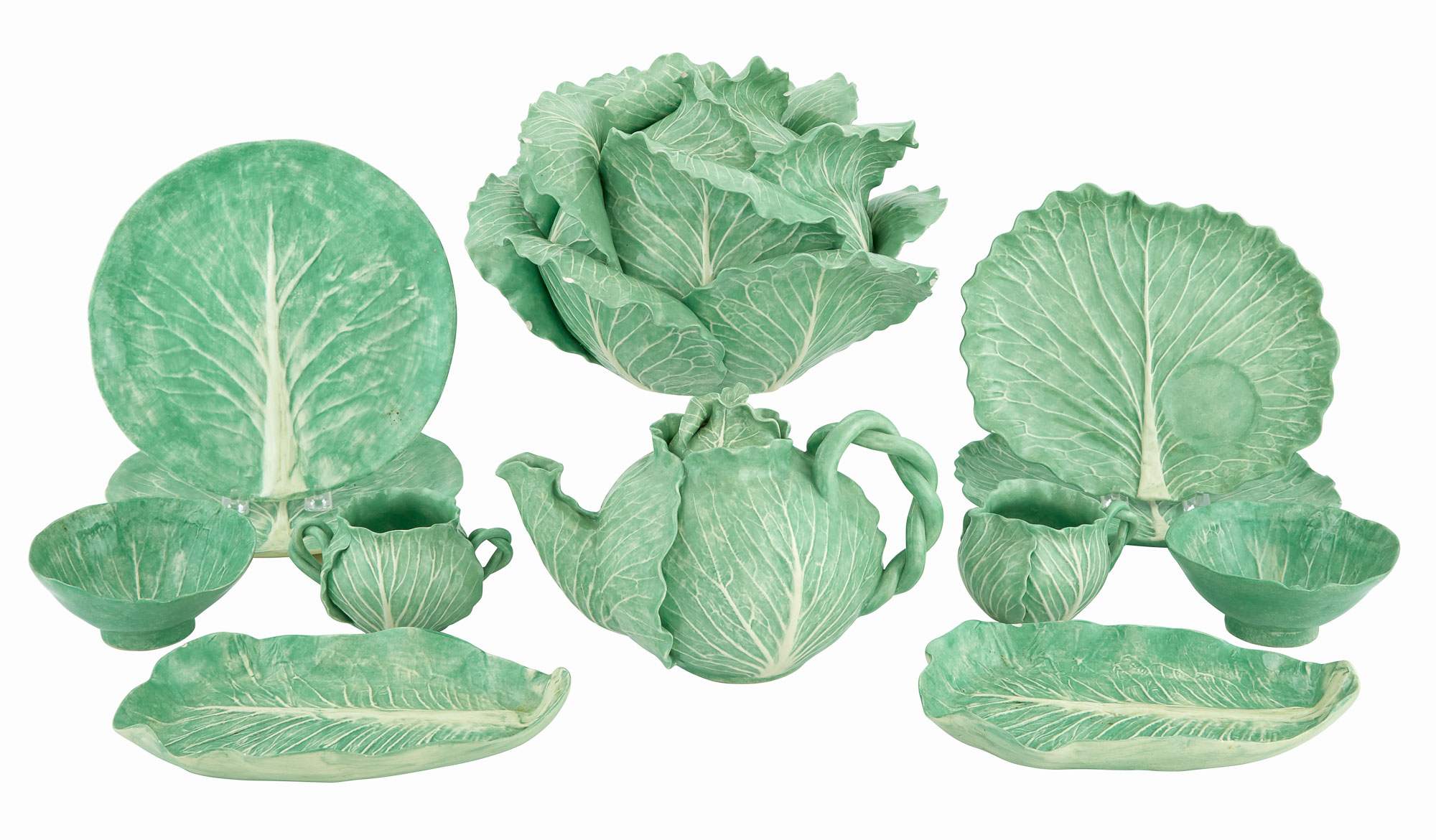 Lot image - Group of Dodie Thayer Green Glazed Ceramic Lettuceware