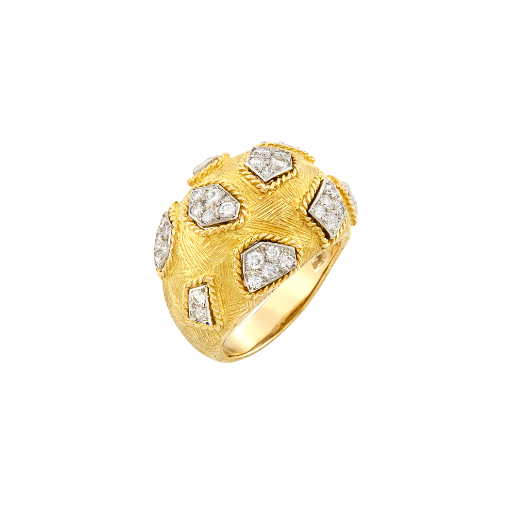 Lot image - Two-Color Gold and Diamond Bombe Ring, Van Cleef & Arpels, France