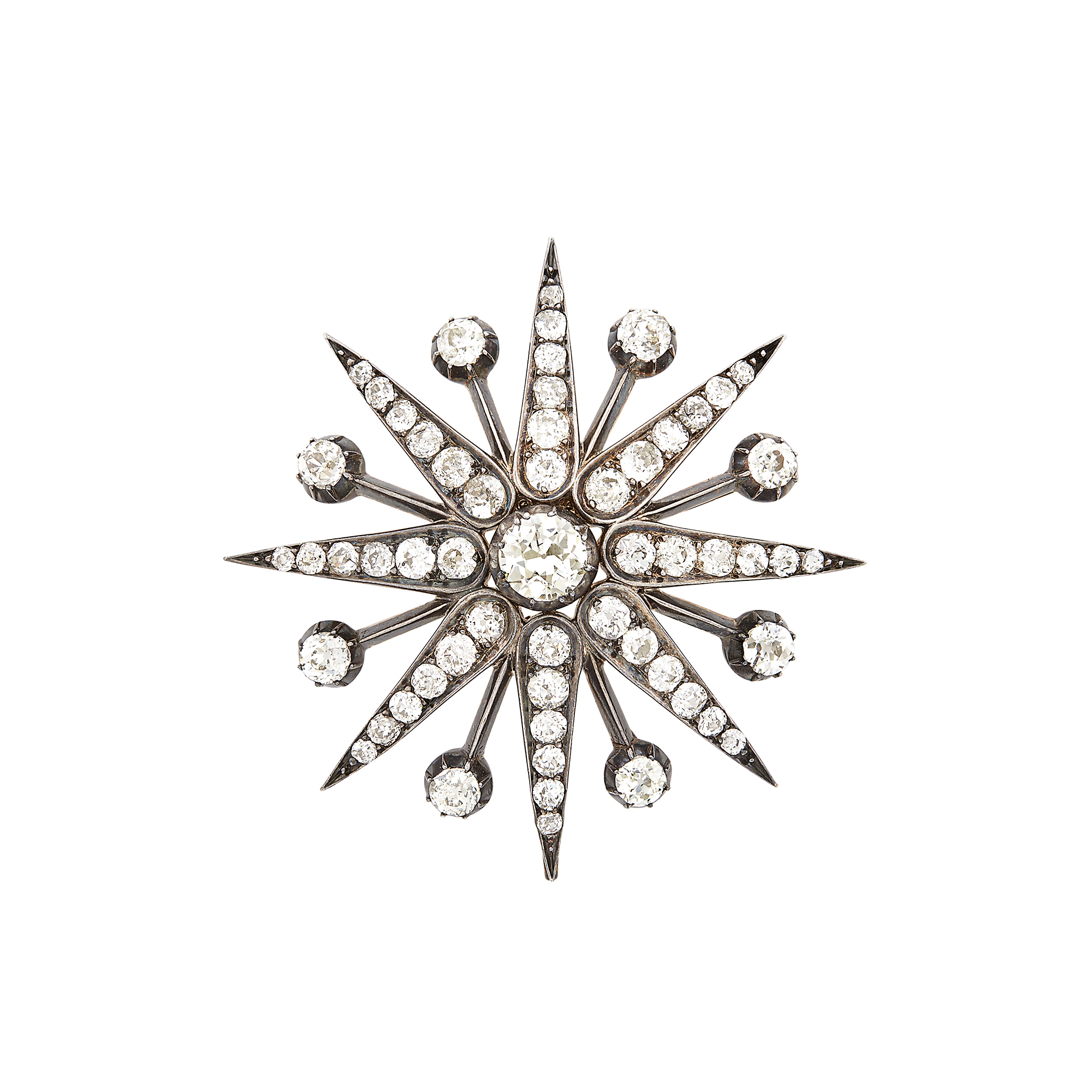 Lot image - Antique Silver, Gold and Diamond Star Pendant-Brooch