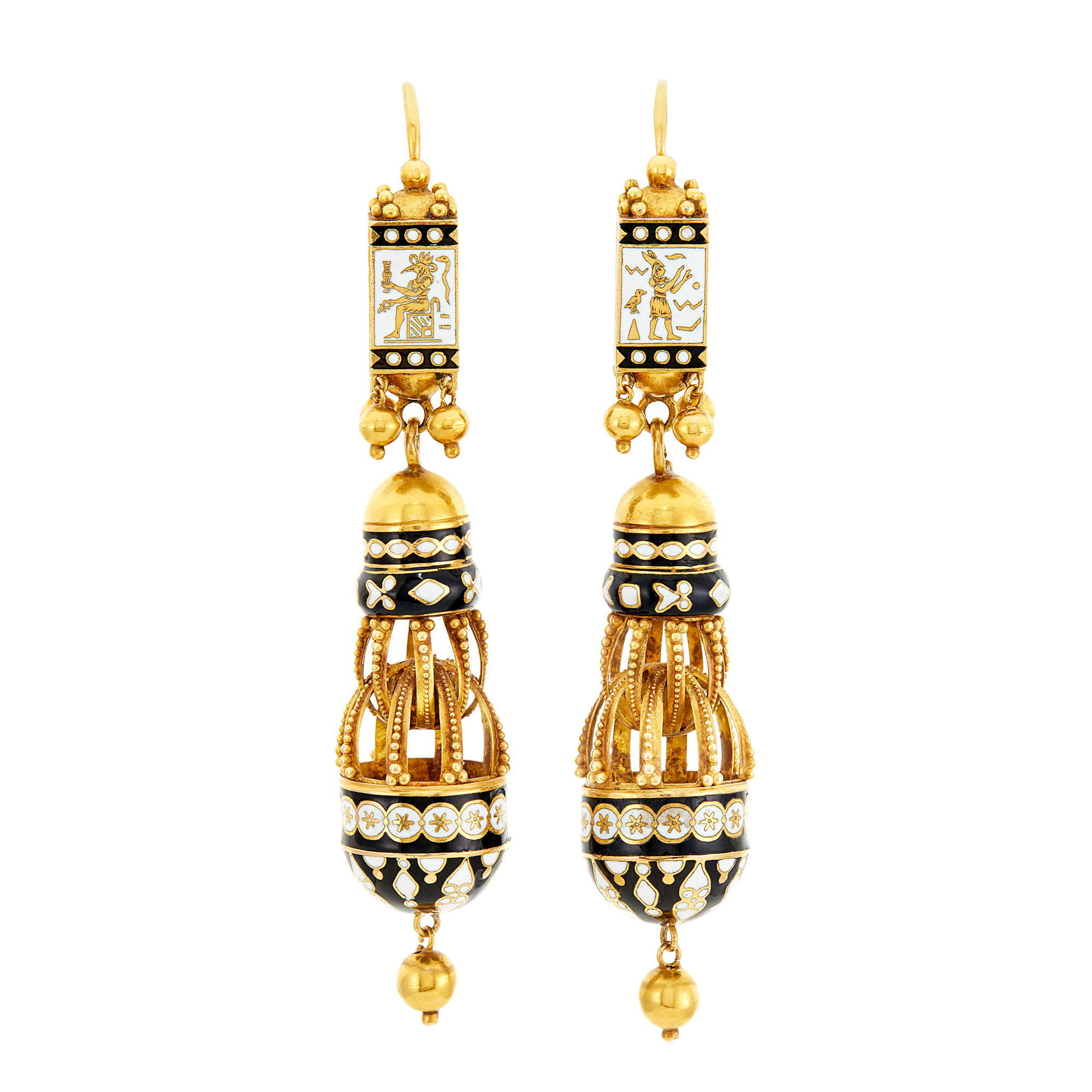 Lot image - Pair of Antique Gold and Black and White Enamel Pendant-Earrings, France