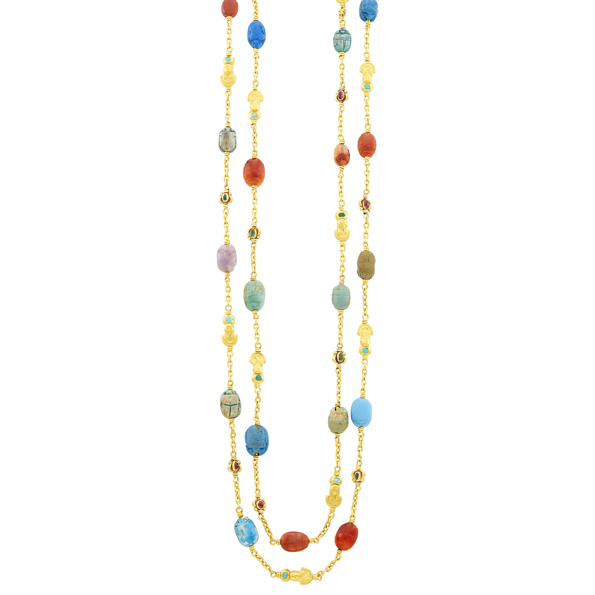 Lot image - Long Egyptian Revival Gold and Hardstone Scarab Chain Necklace, France