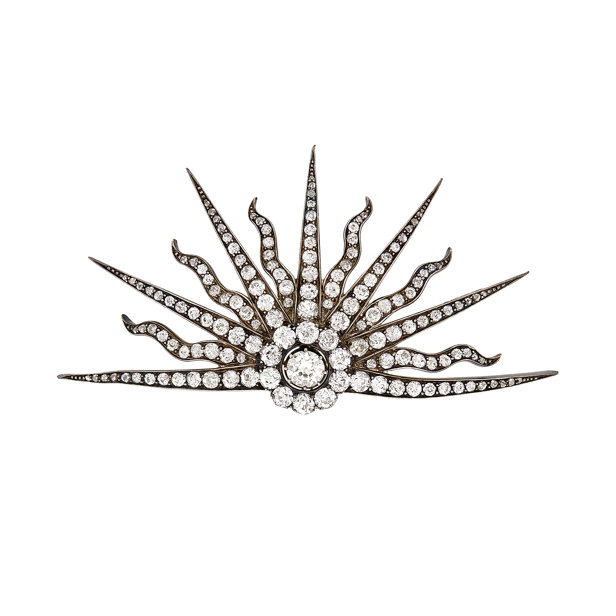 Lot image - Antique Silver, Gold and Diamond Sunburst Brooch
