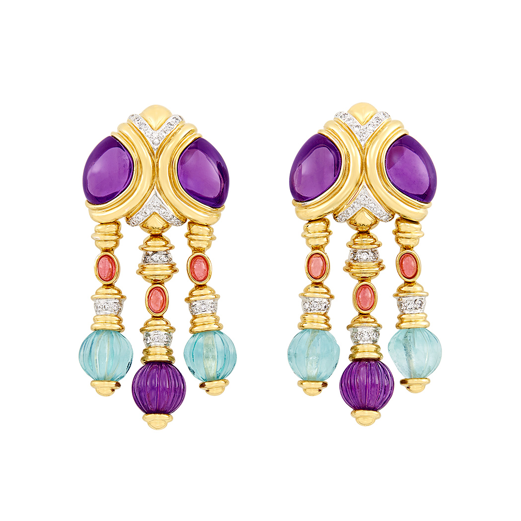 Lot image - Pair of Gold, Cabochon Amethyst, Fluted Bead and Diamond Fringe Earrings
