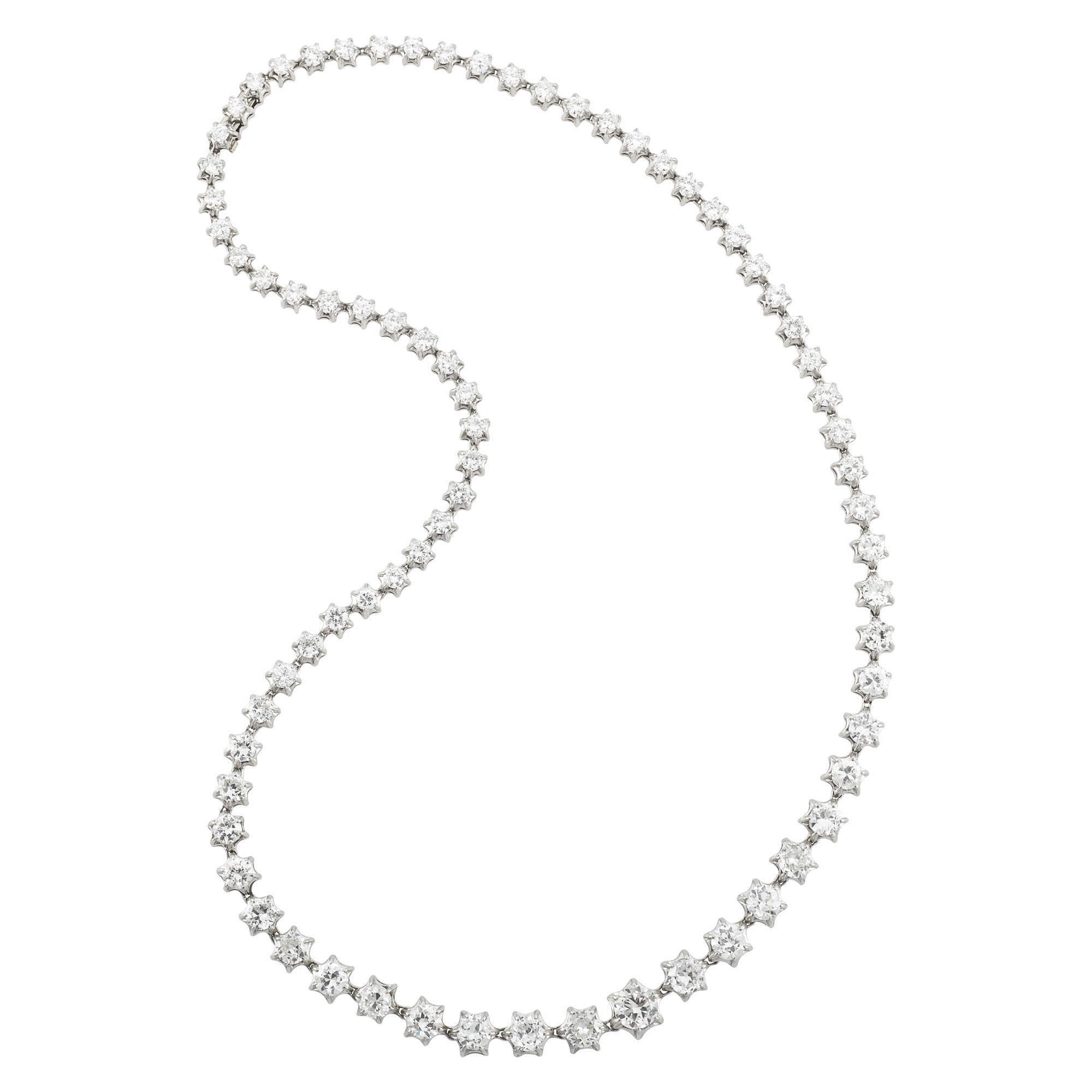 Lot image - Antique Platinum and Diamond Celestial Star Necklace