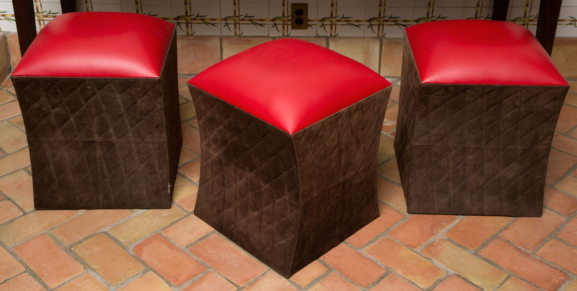 Lot image - Set of Three Square Upholstered Stools