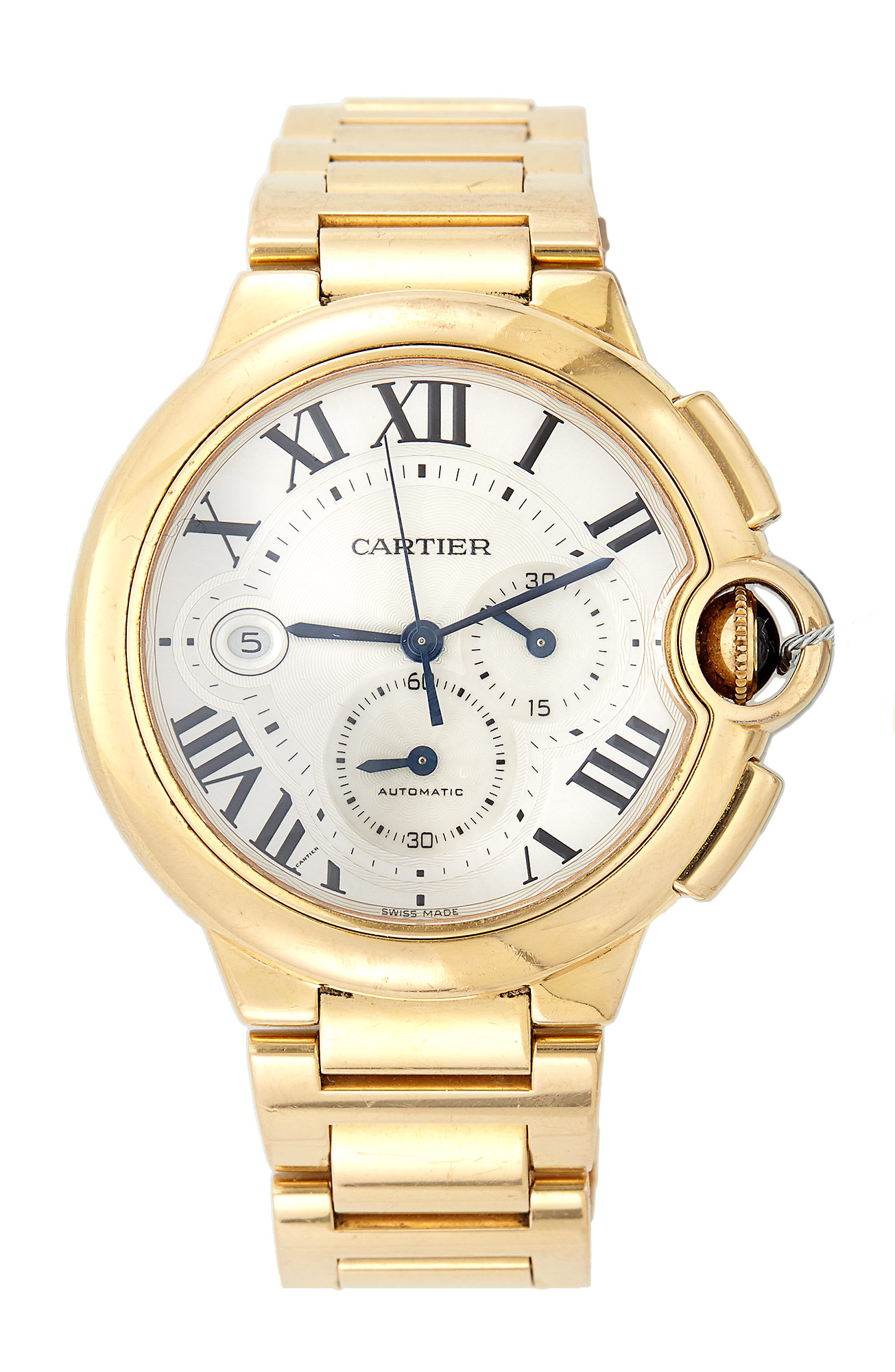 Lot image - Mans Gold Bracelet Watch, 33 Jewels, Cartier Ballon Bleu, Chronograph, Automatic, 18K 145 dwt. all