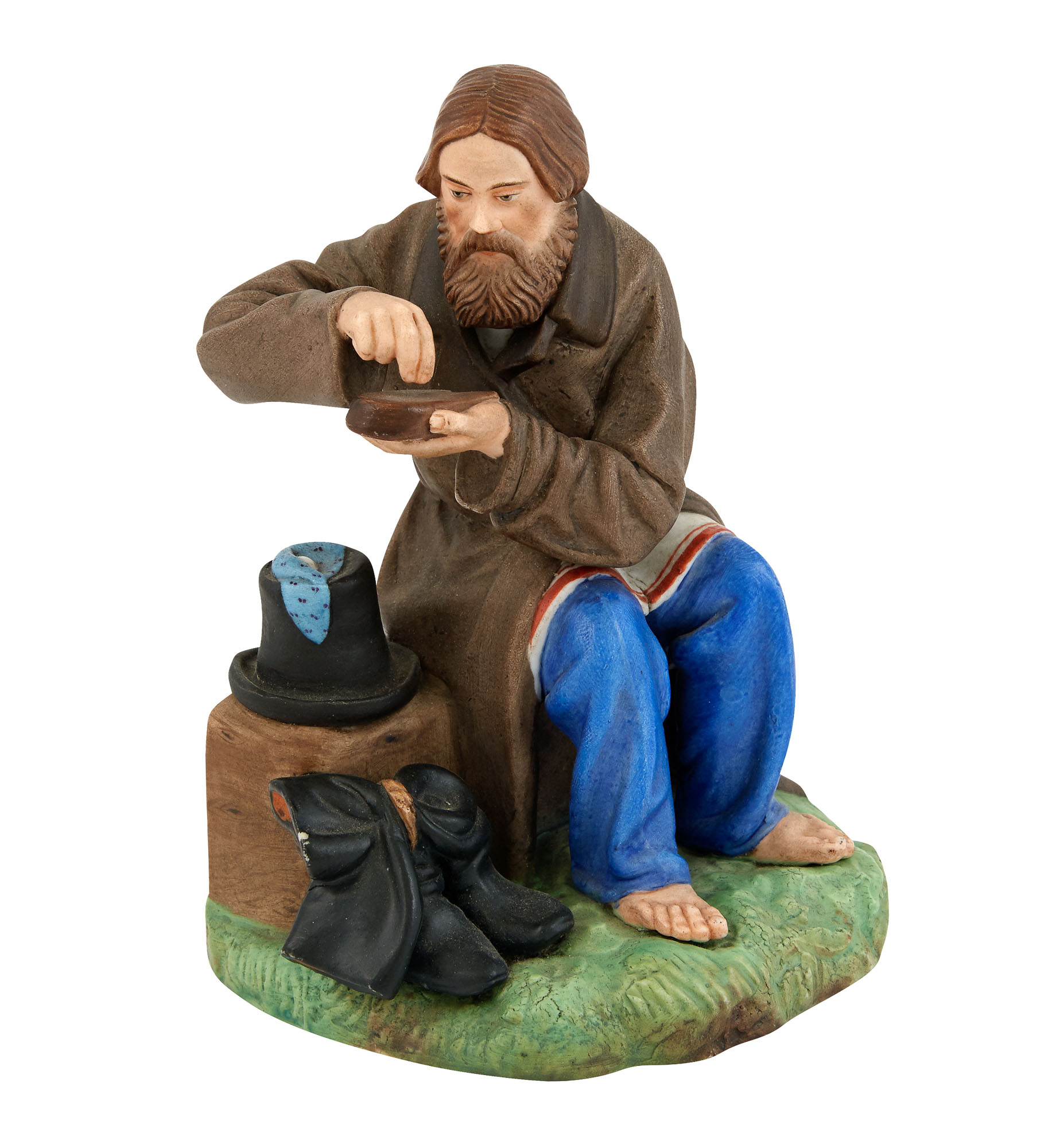 Lot image - Russian Porcelain Figure of a Peasant Man Stopping for Lunch