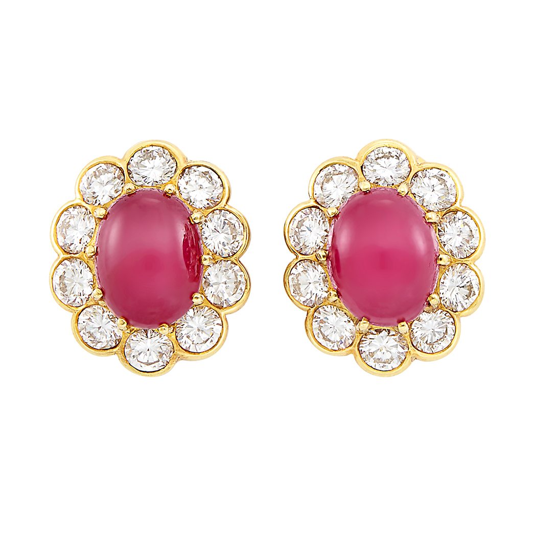 Lot image - Pair of Gold, Cabochon Ruby and Diamond Earrings, Van Cleef & Arpels