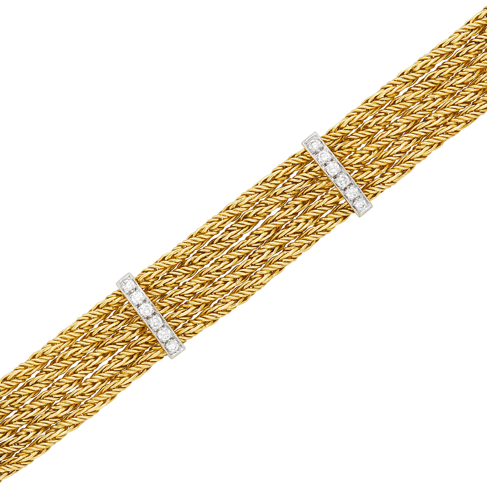 Lot image - Five Strand Two-Color Gold and Diamond Bracelet