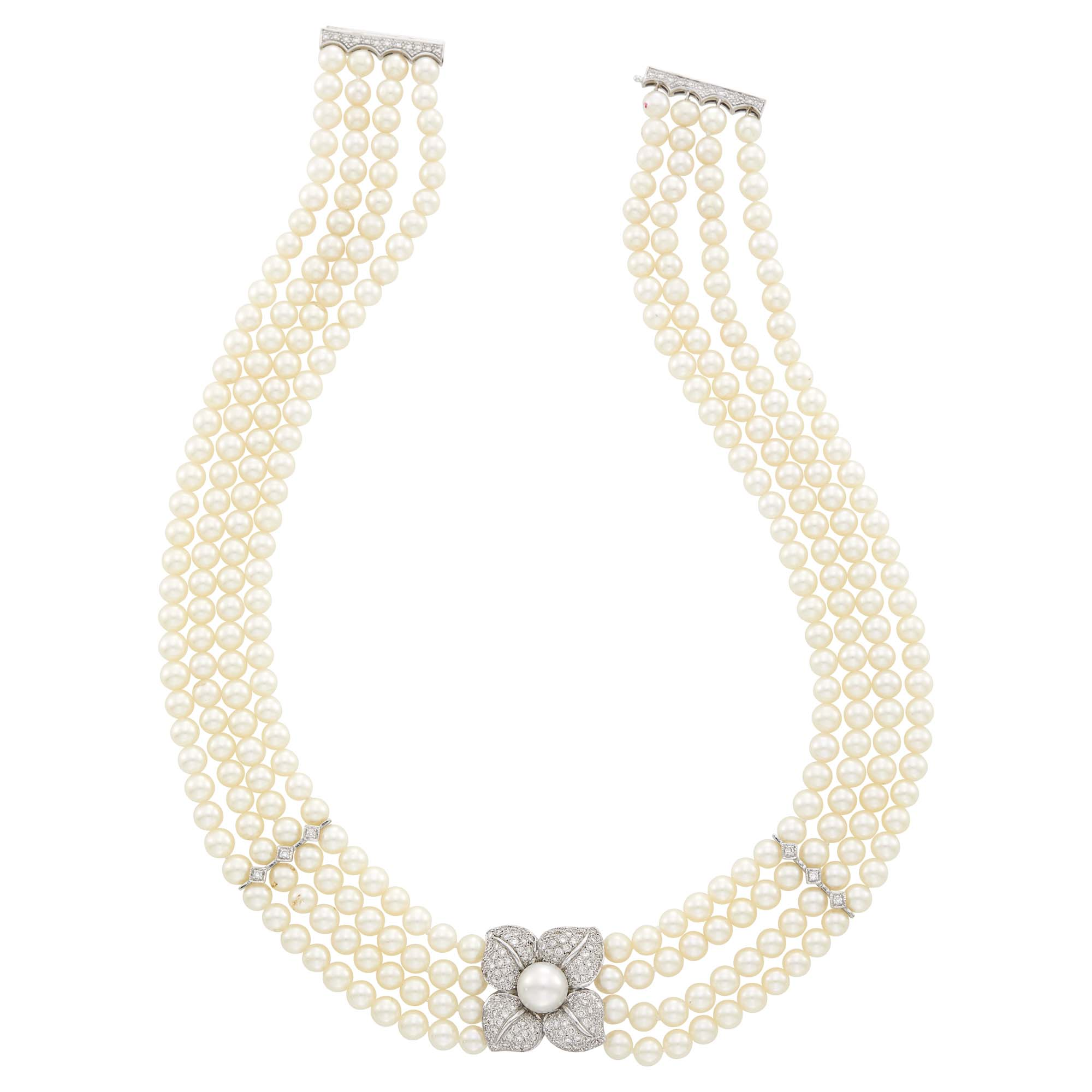 Lot image - Four Strand Cultured Pearl, White Gold and Diamond Necklace