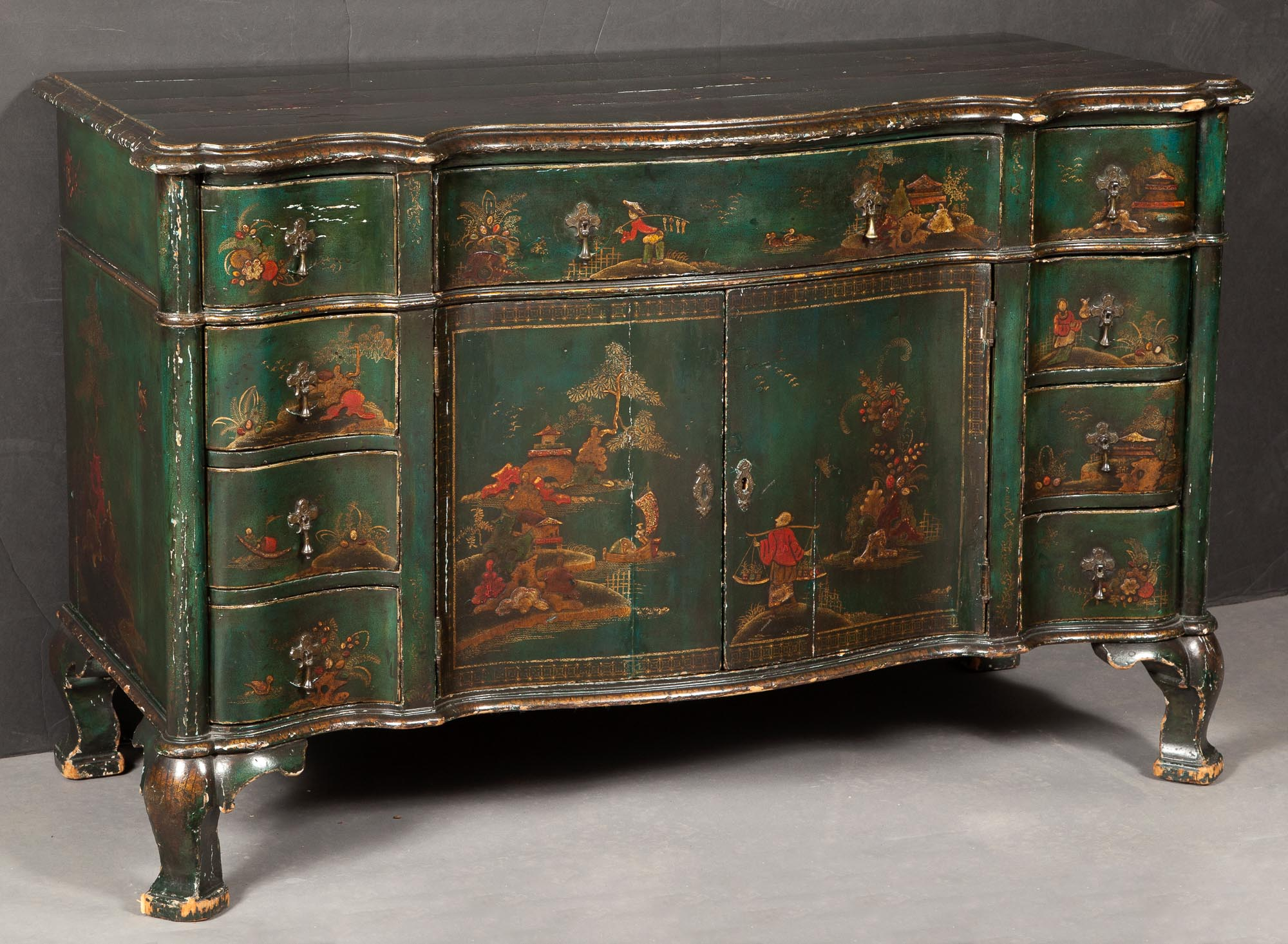 Lot image - George III Style Chinoiserie-Decorated Painted and Parcel-Gilt Commode