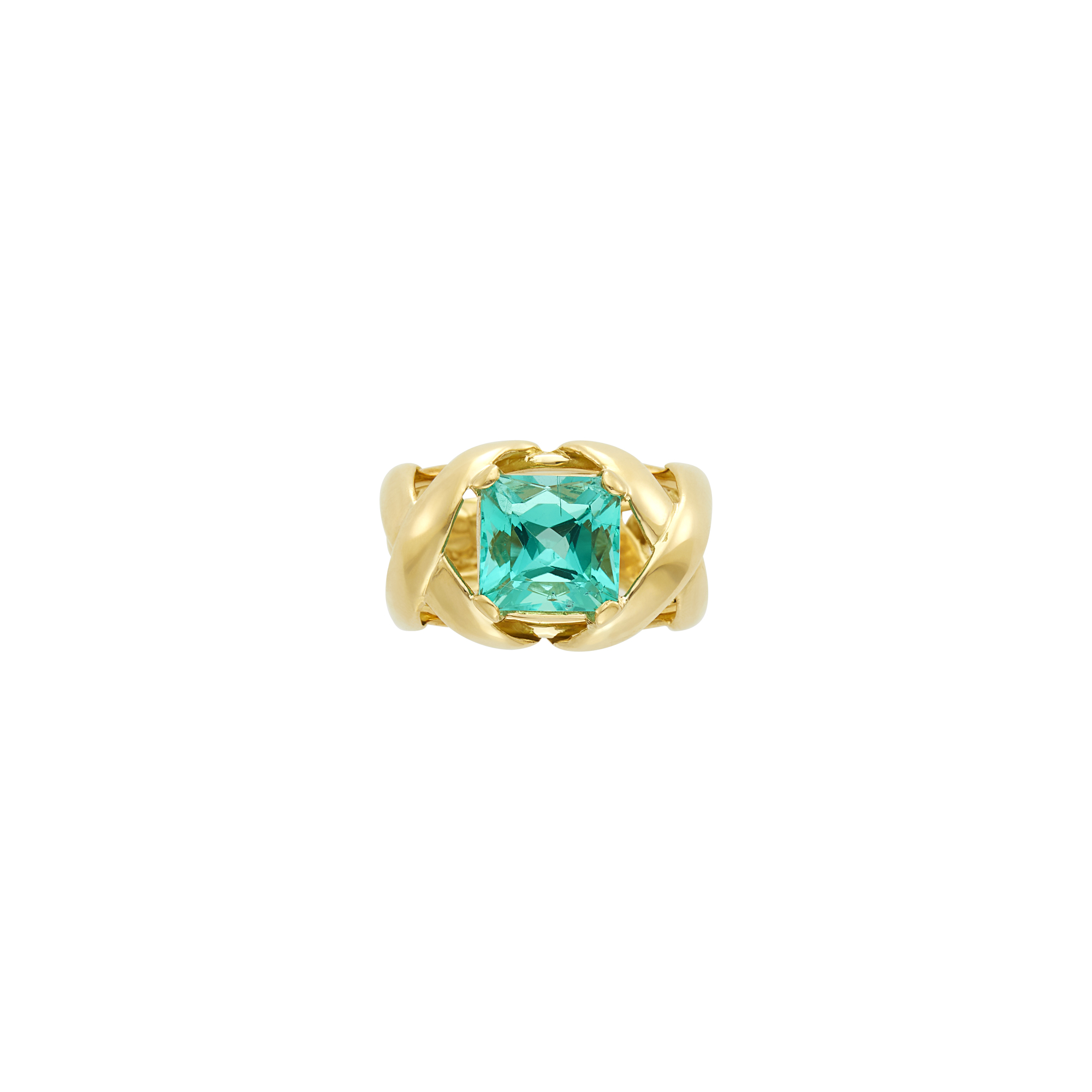 Lot image - Tiffany & Co., Schlumberger Gold and Emerald Ring