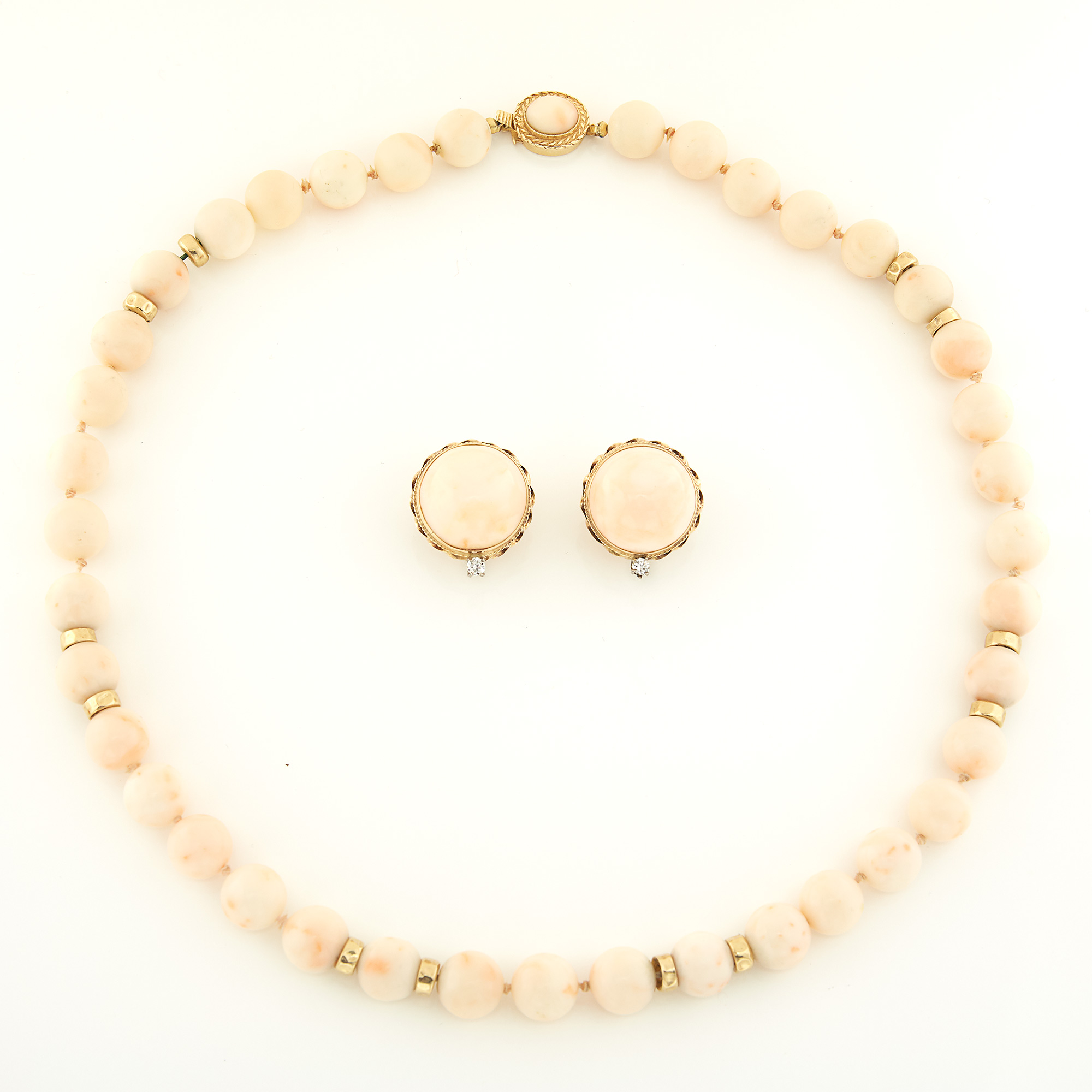 Lot image - Gold and Angel Skin Coral Bead Necklace and Pair of Coral and Diamond Earclips