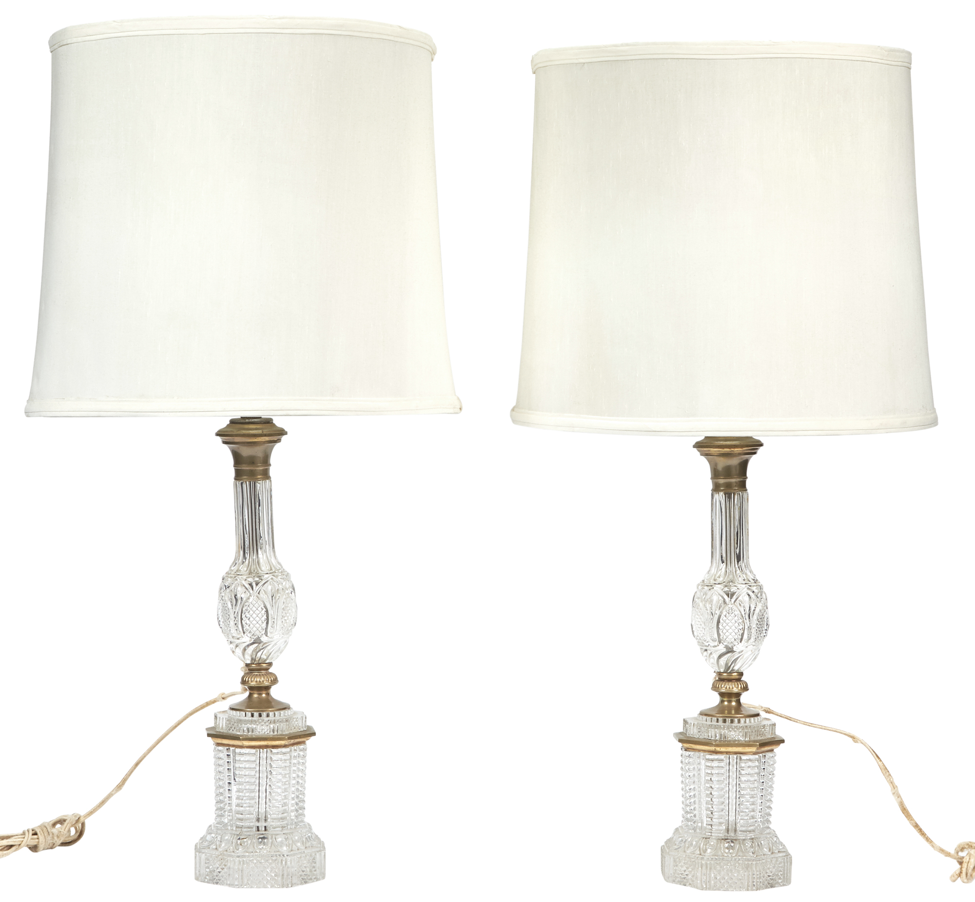 Lot image - Pair of Brass-Mounted Cut Glass Lamps