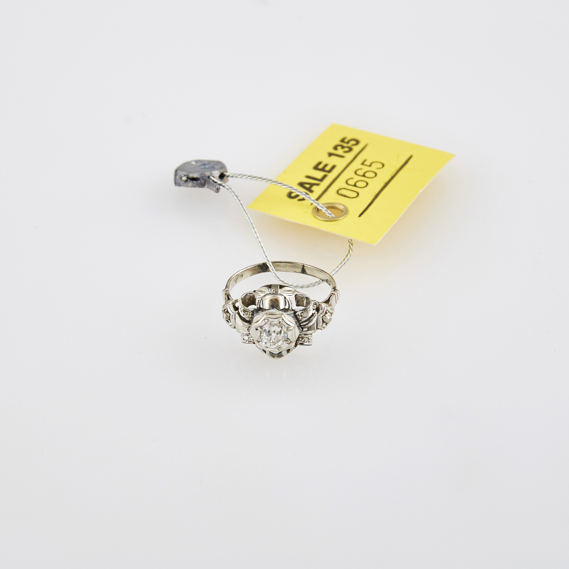 Lot image - Diamond and Rose Diamond Ring, center stone about 0.45 ct., 10K 2 dwt.