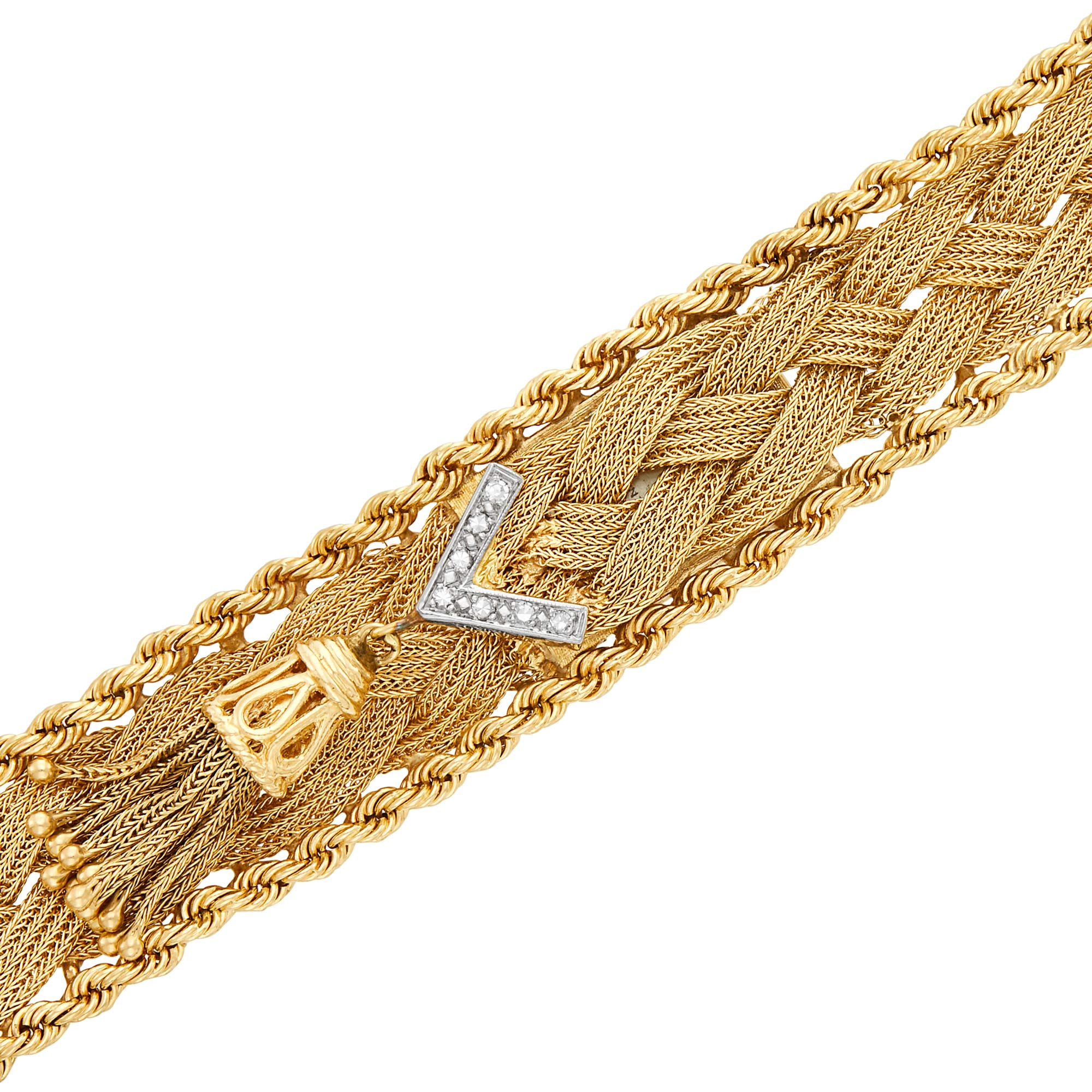 Lot image - Gold Braided Bracelet-Watch