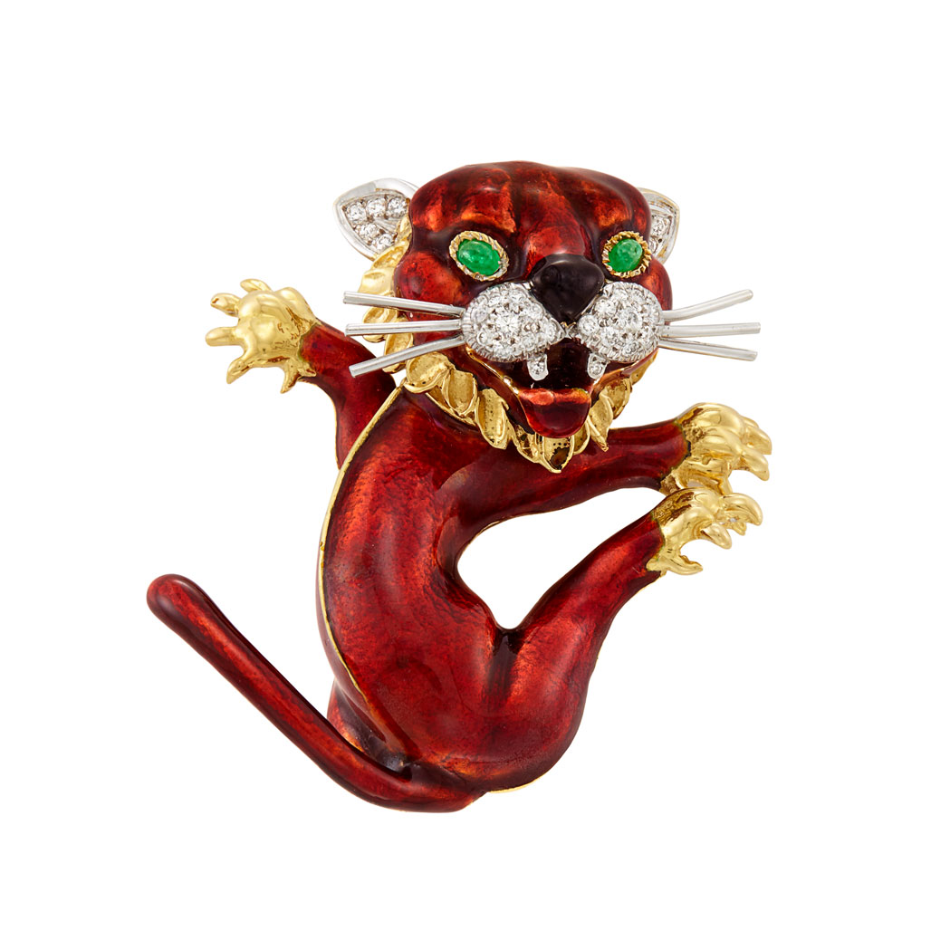 Lot image - Two-Color Gold, Red Enamel, Diamond and Cabochon Emerald Lion Cub Clip-Brooch, Kutchinsky