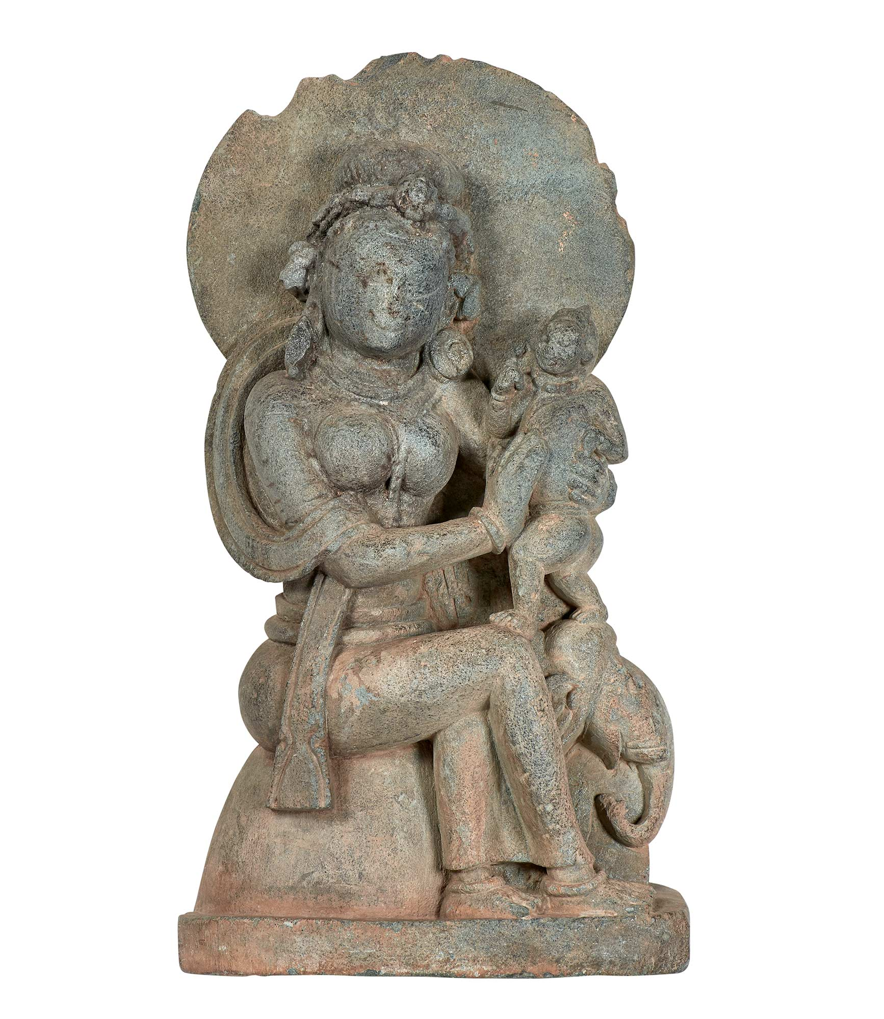 Lot image - Gray Schist Figure of the Mother Goddess Indrani