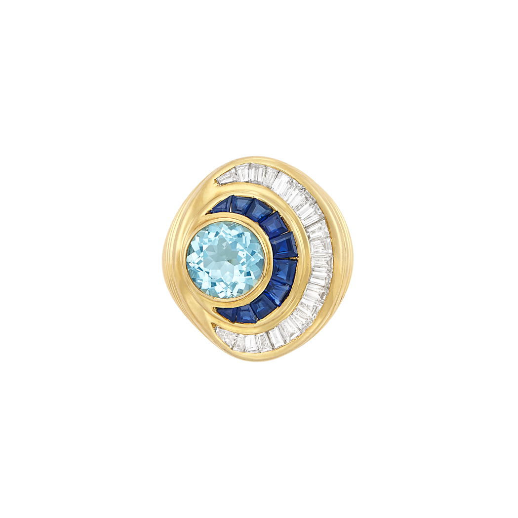 Lot image - Gold, Aquamarine, Sapphire and Diamond Ring
