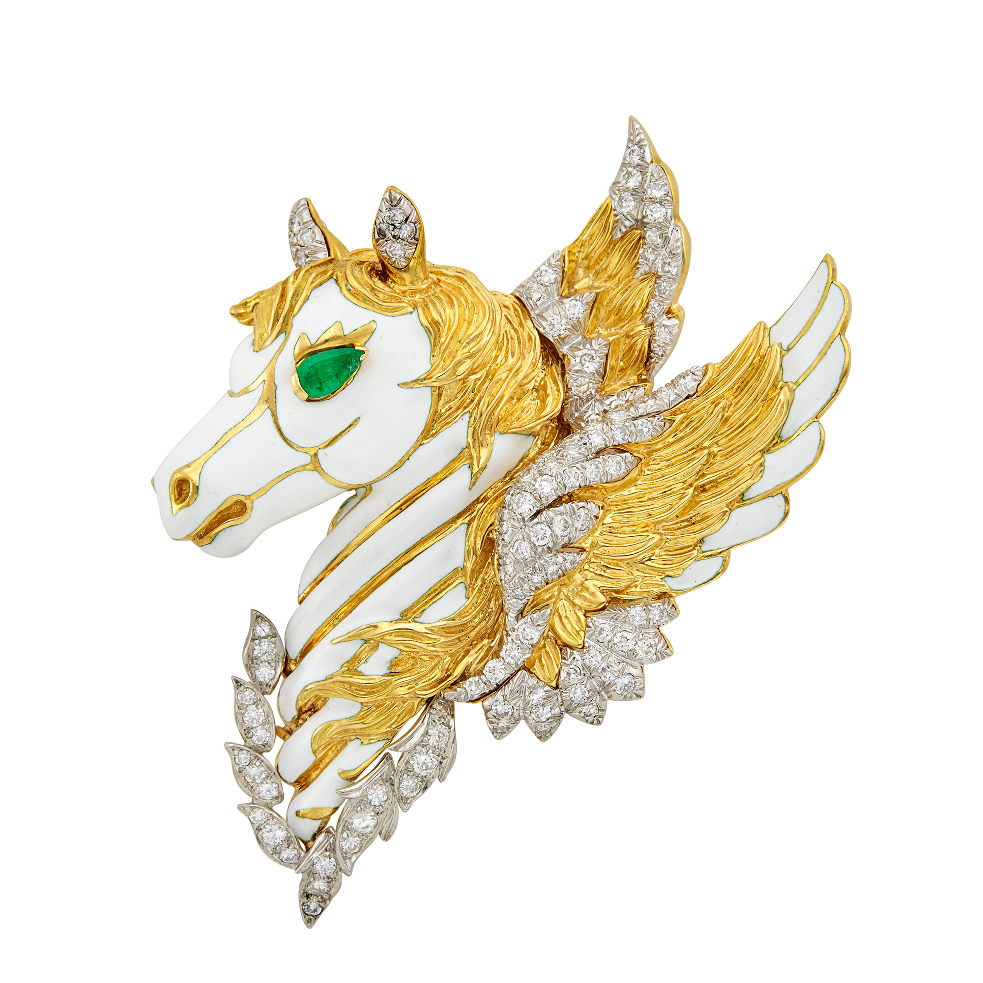 Lot image - Gold, Platinum, White Enamel and Diamond Pegasus Clip-Brooch, David Webb