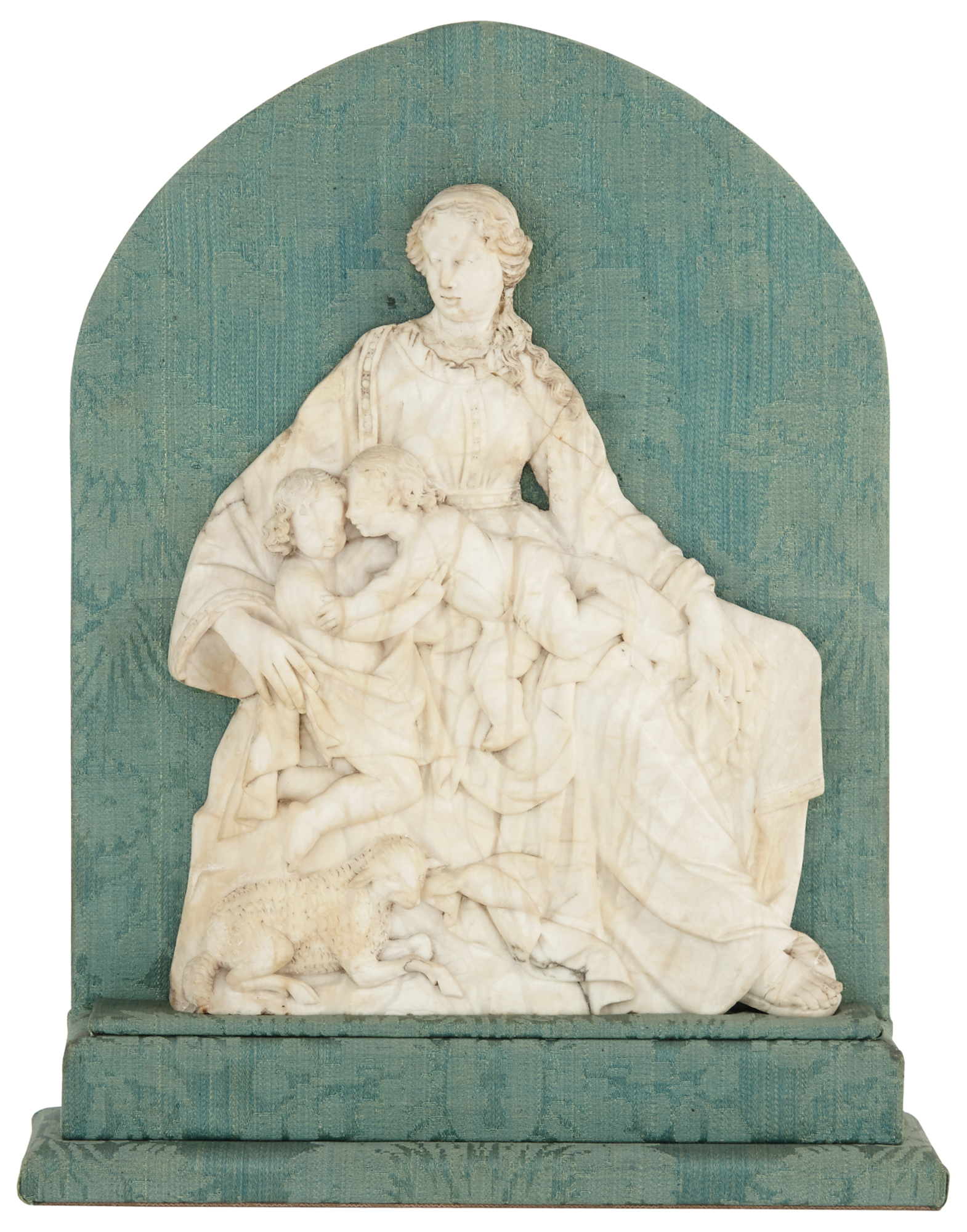 Lot image - Continental Alabaster Group of the Madonna and Child with the Young St. John