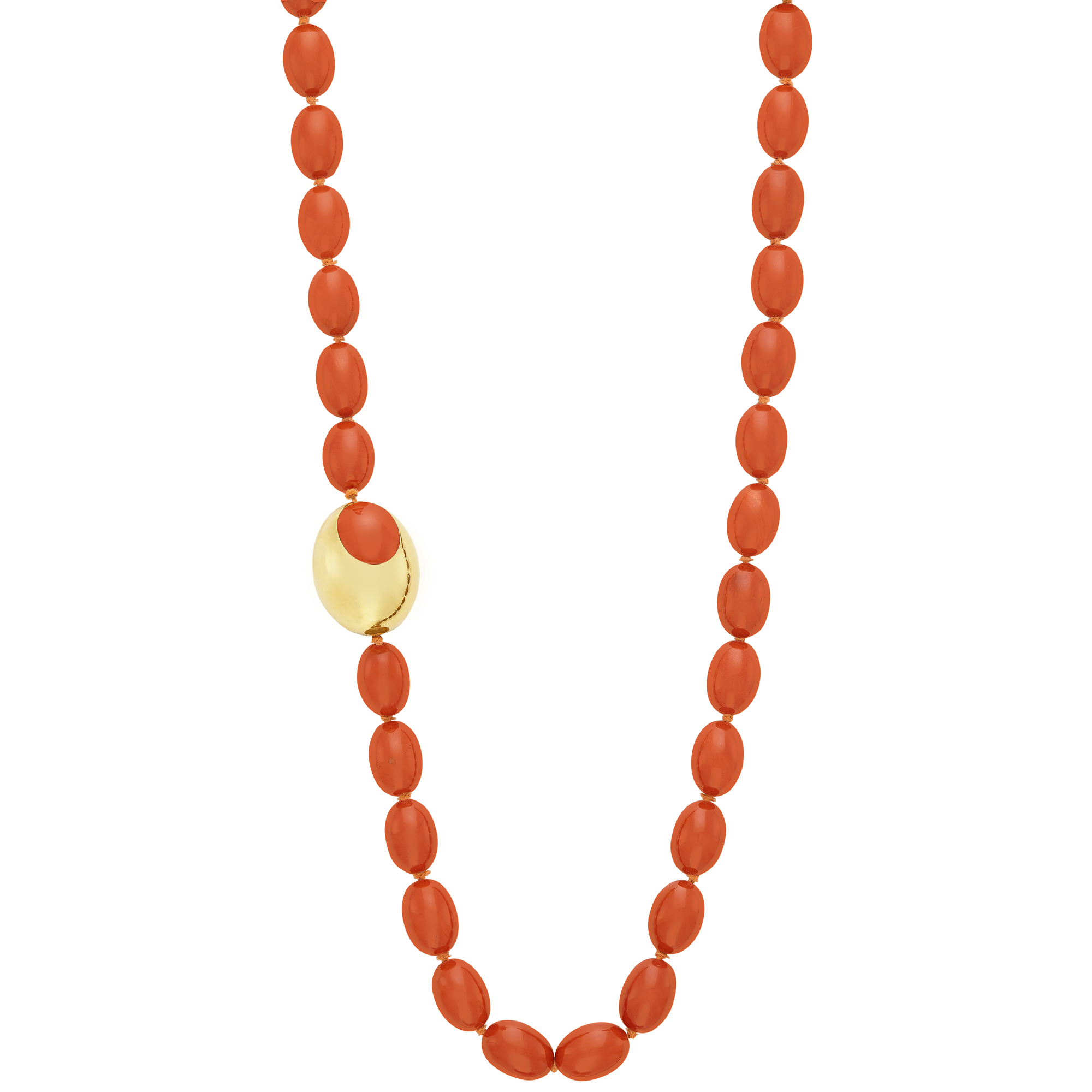 Lot image - Long Carnelian and Gold and Inlaid Carnelian Bead Necklace, Tiffany & Co.