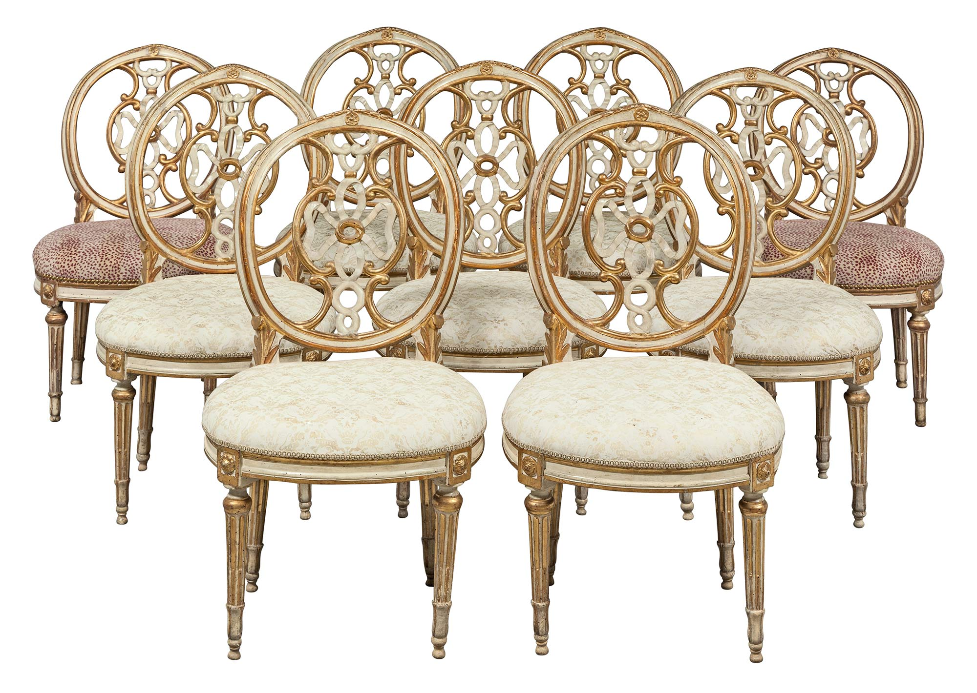 Lot image - Assembled Set of Nine Italian Neoclassical Painted and Parcel-Gilt Side Chairs