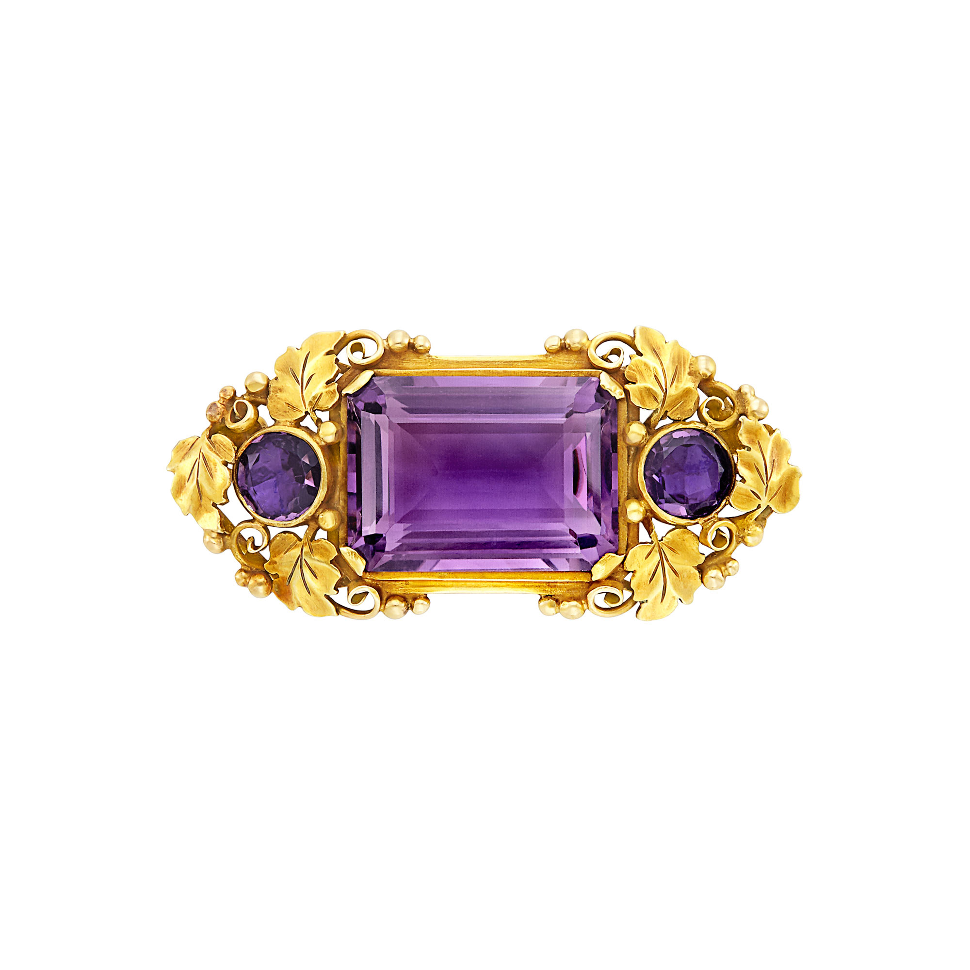 Lot image - Arts and Crafts Gold and Amethyst Brooch