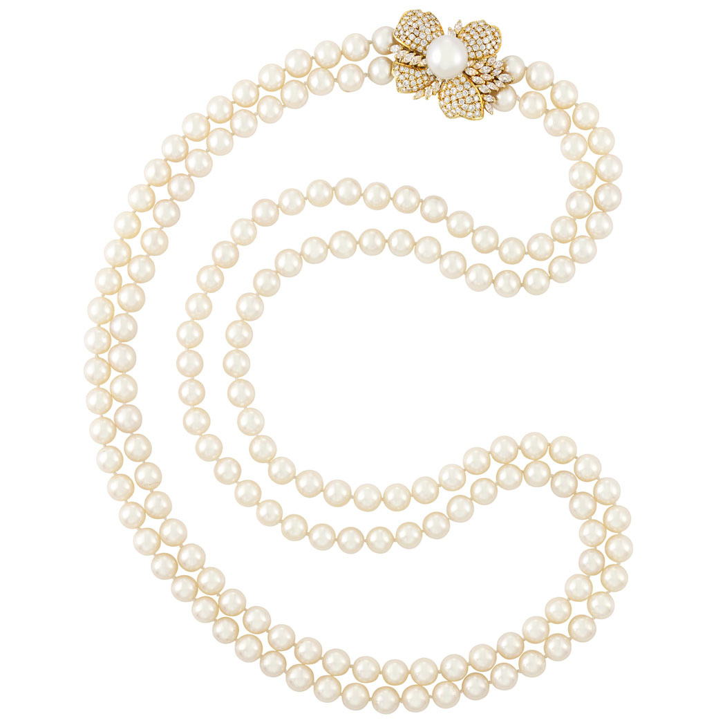 Lot image - Long Double Strand Cultured Pearl Necklace with Gold, South Sea Cultured Pearl and Diamond Flower Clasp