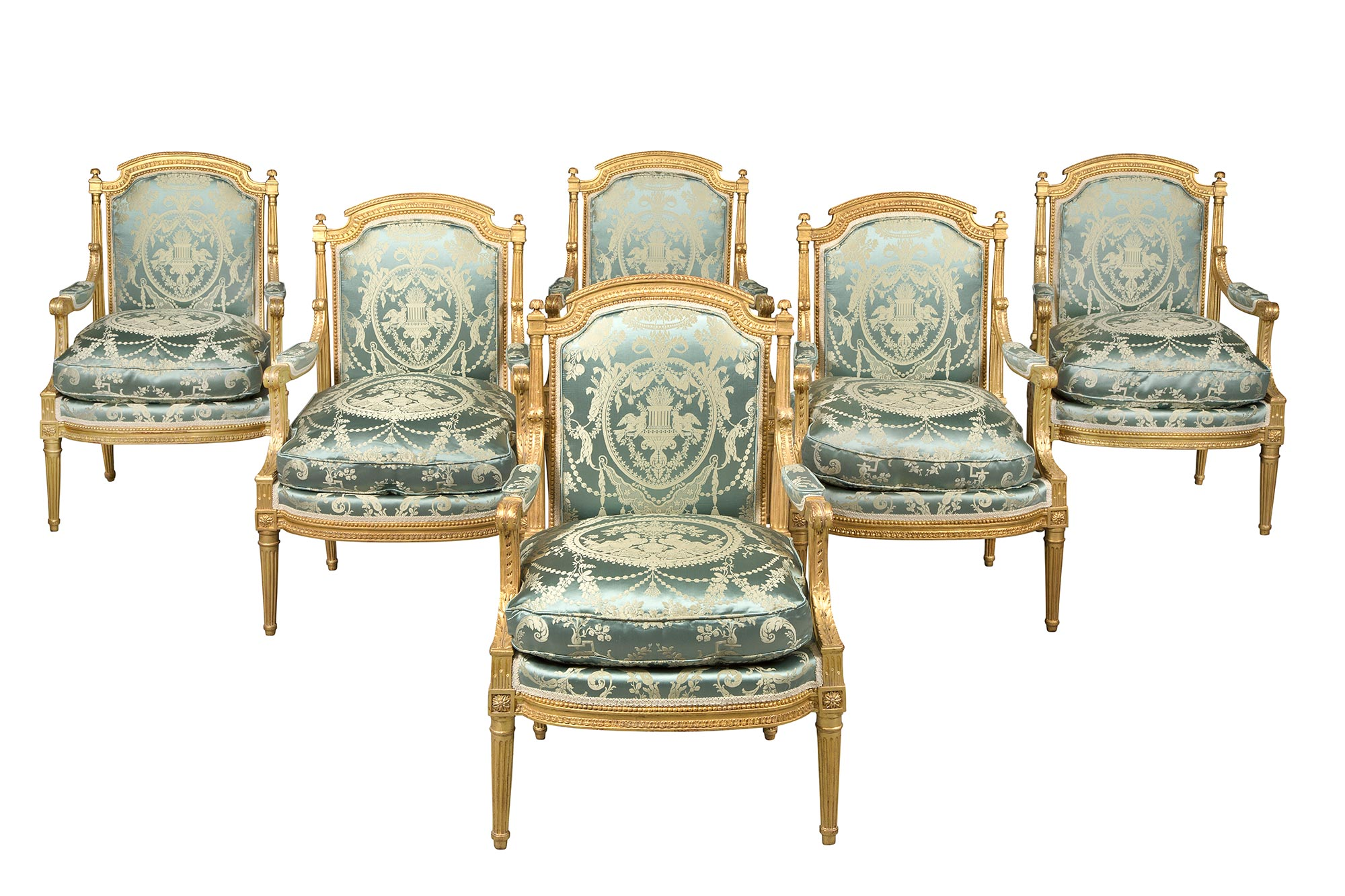 Lot image - Set of Six Louis XVI Giltwood Fauteuils à la Reine