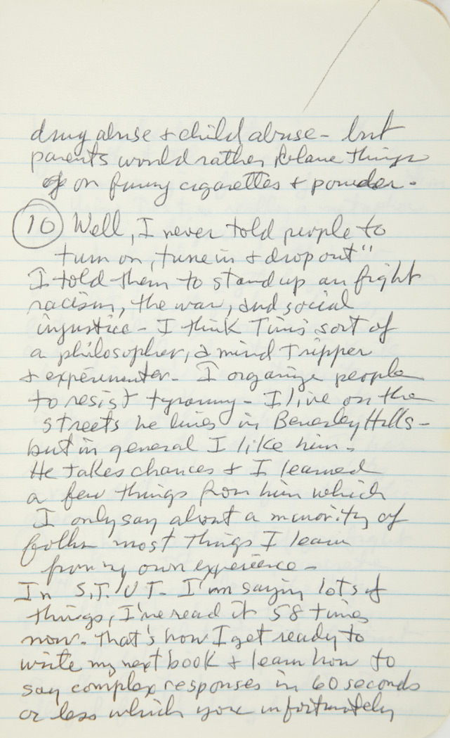 Lot image - HOFFMAN, ABBIE  Manuscript notebook of interview responses.