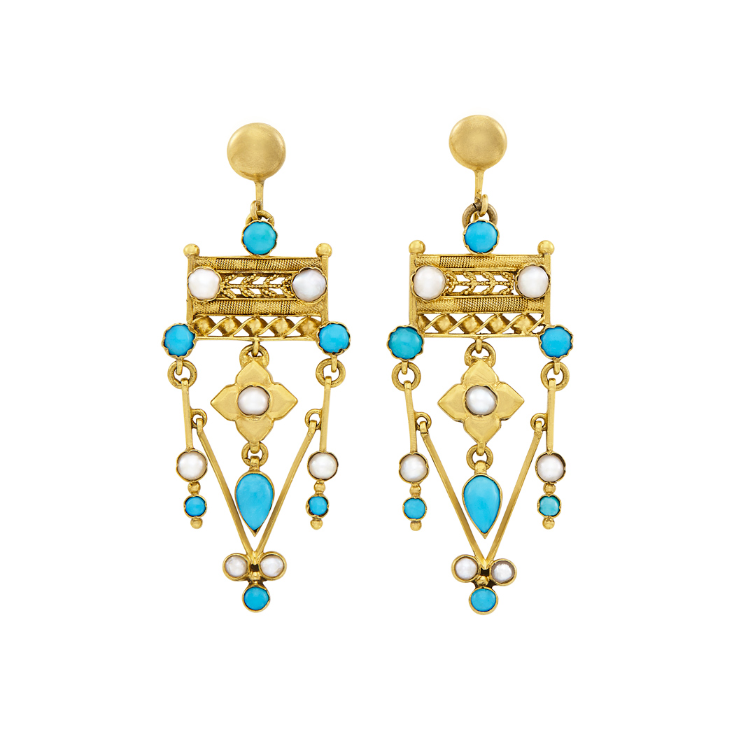 Lot image - Pair of Antique Gold, Low Karat Gold, Turquoise and Split Pearl Pendant-Earrings