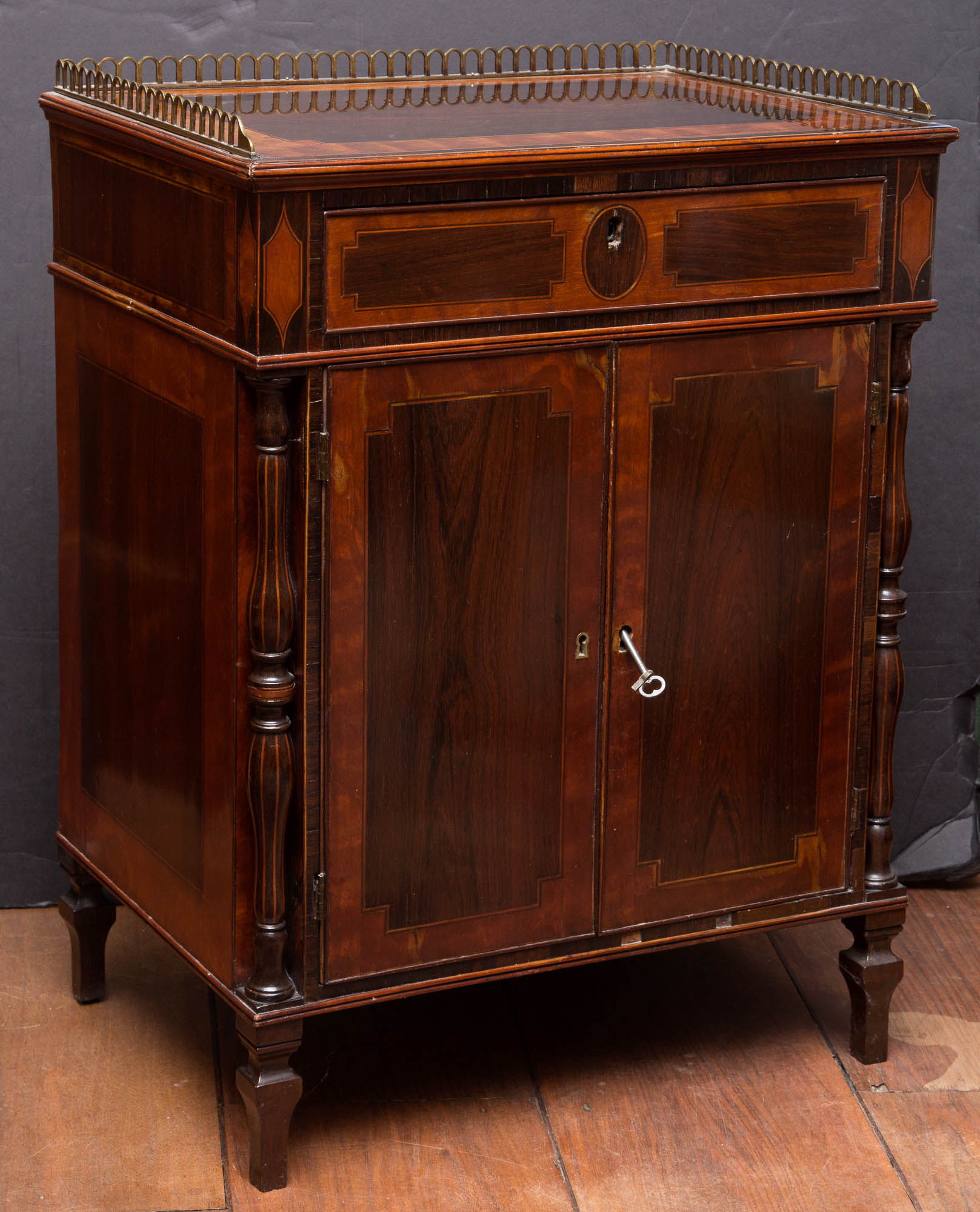 Lot image - Pair of George III Inlaid Mahogany Bedside Cupboards