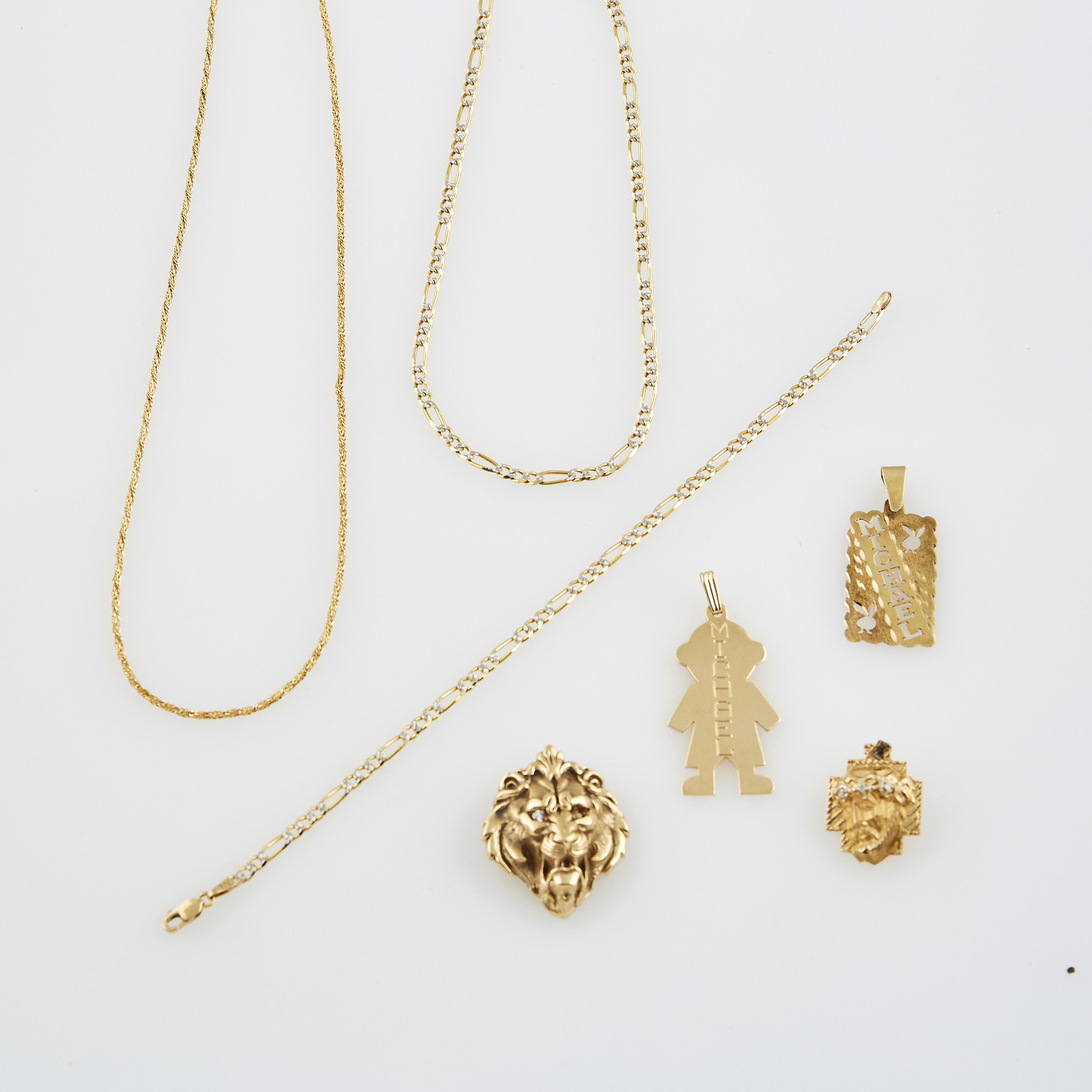 Lot image - Two Diamond Pendants, Two Gold Pendants, Two Neck Chains and Flexible Bracelet, 14K 20 dwt.,        stone missing