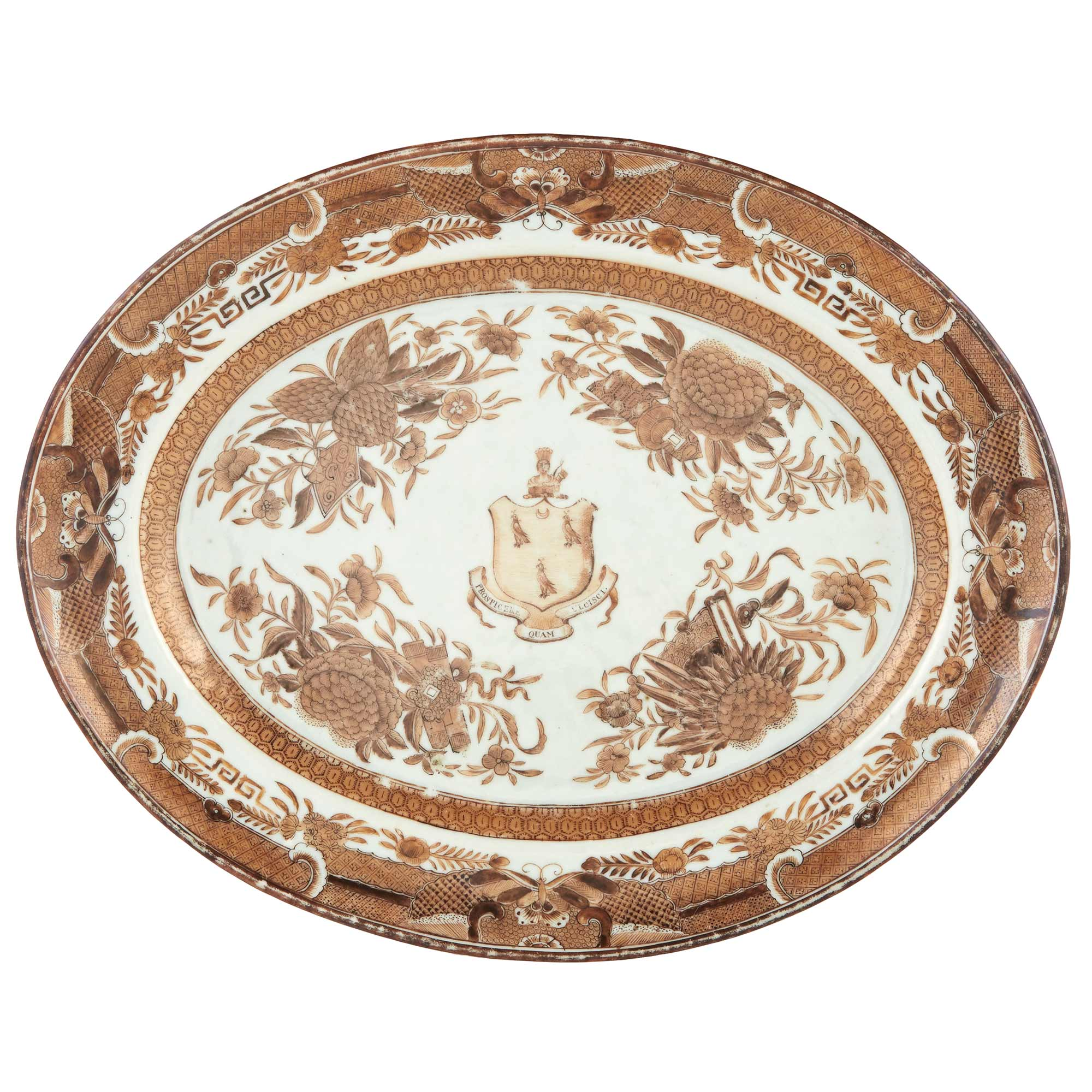 Lot image - Chinese Export Brown Fitzhugh Armorial Porcelain Platter From the Manigault Service