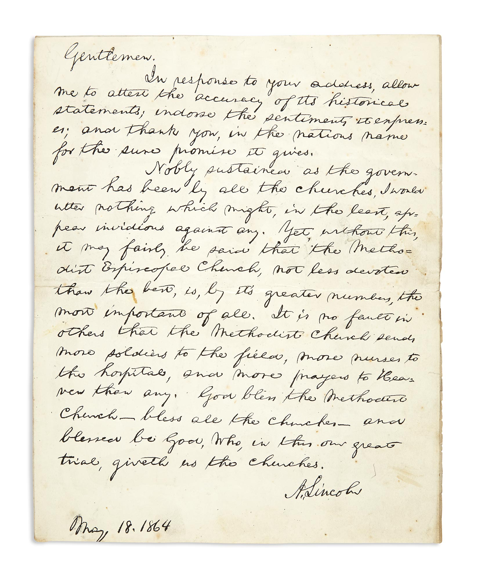 Lot image - LINCOLN, ABRAHAM  Facsimile of Lincolns response to the Methodist Church.