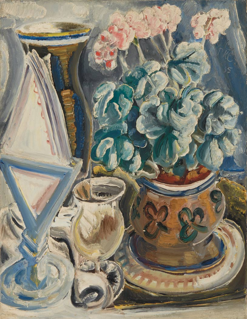 Lot image - Paul Kleinschmidt German, 1883-1949 Still Life with Geraniums, 1935
