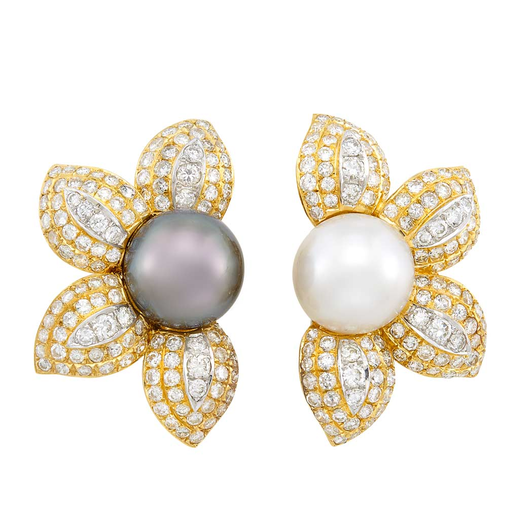 Lot image - Pair of Gold, Tahitian Gray and South Sea Cultured Pearl and Diamond Flower Earclips