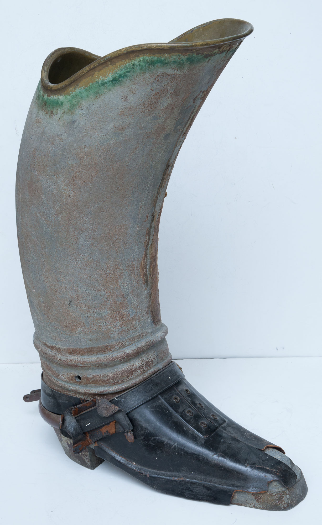 Lot image - Metal and Leather Boot-Form Umbrella Stand