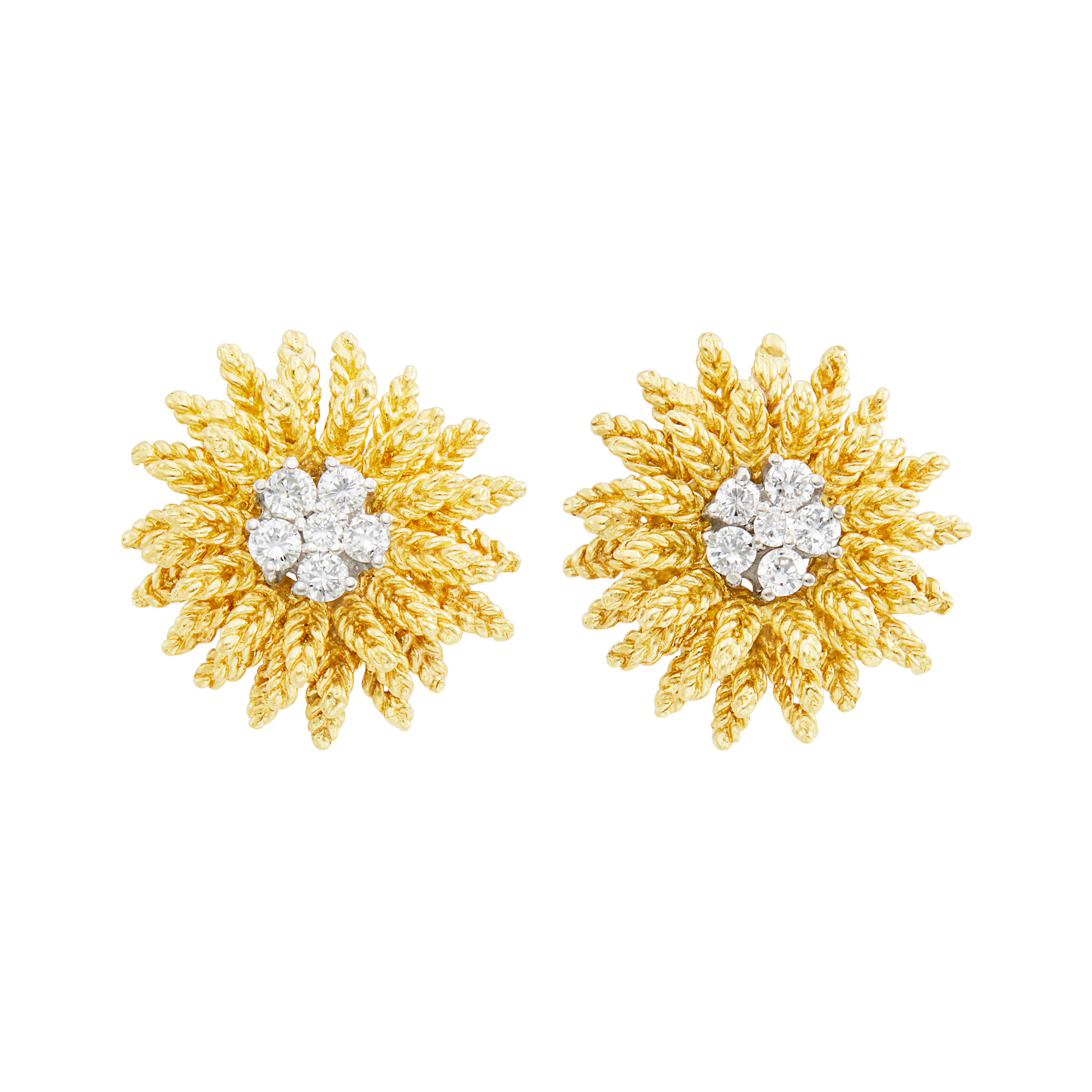 Lot image - Tiffany & Co. Pair of Gold and Diamond Flower Earrings