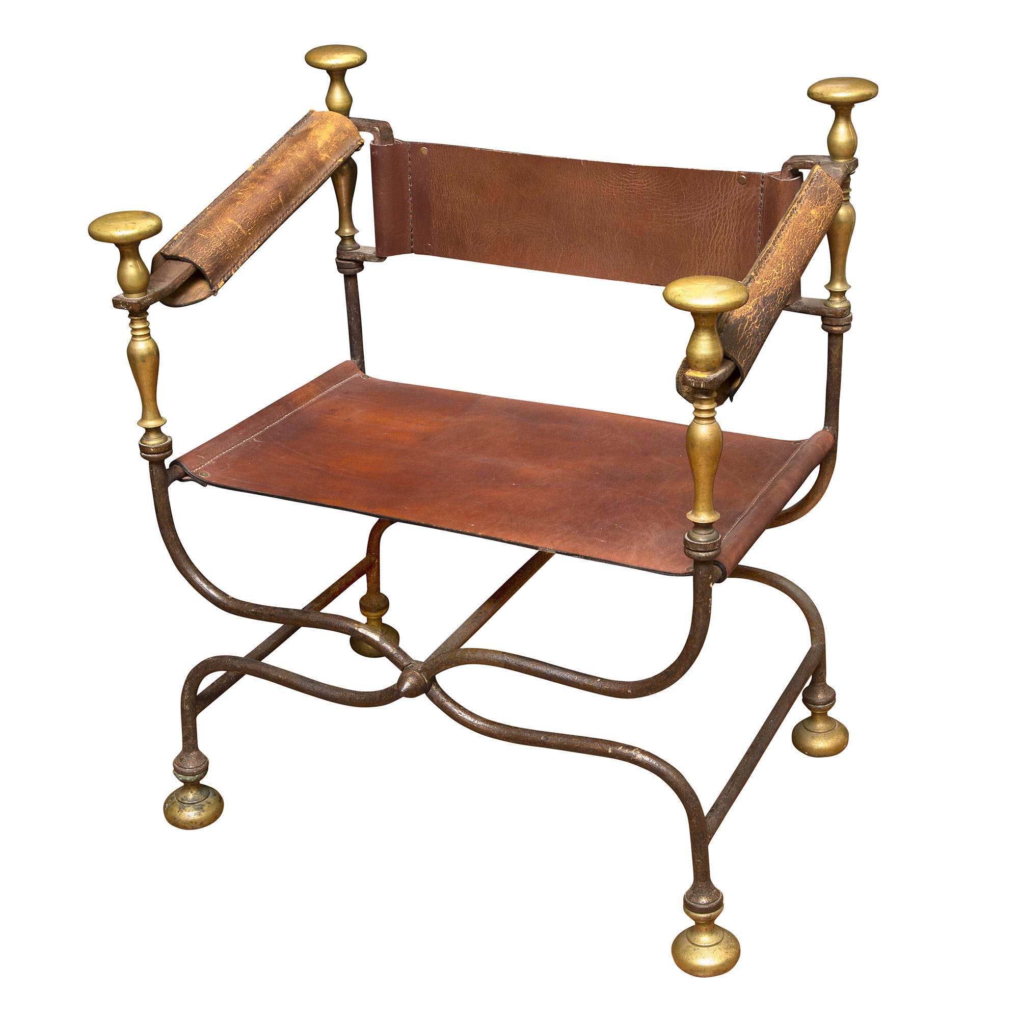 Lot image - Associated Pair of Renaissance Style Wrought Iron and Brass Folding Chairs