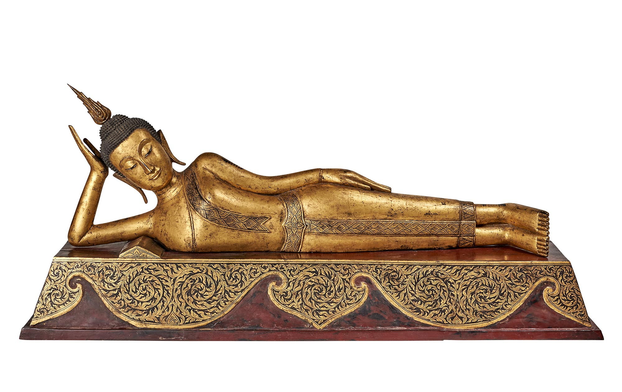 Lot image - Thai Giltwood Figure of a Reclining Buddha
