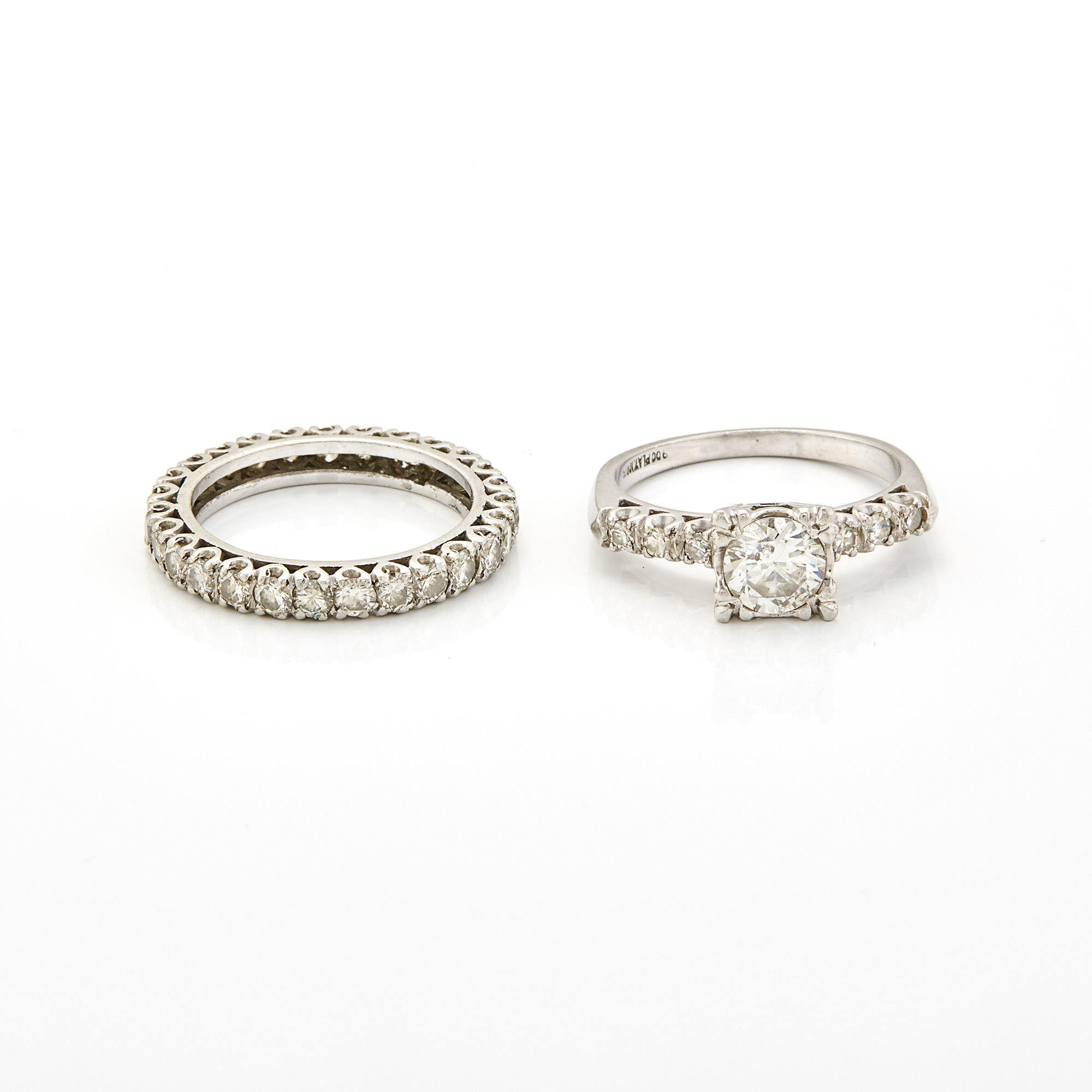 Lot image - Platinum and Diamond Ring and Band Ring