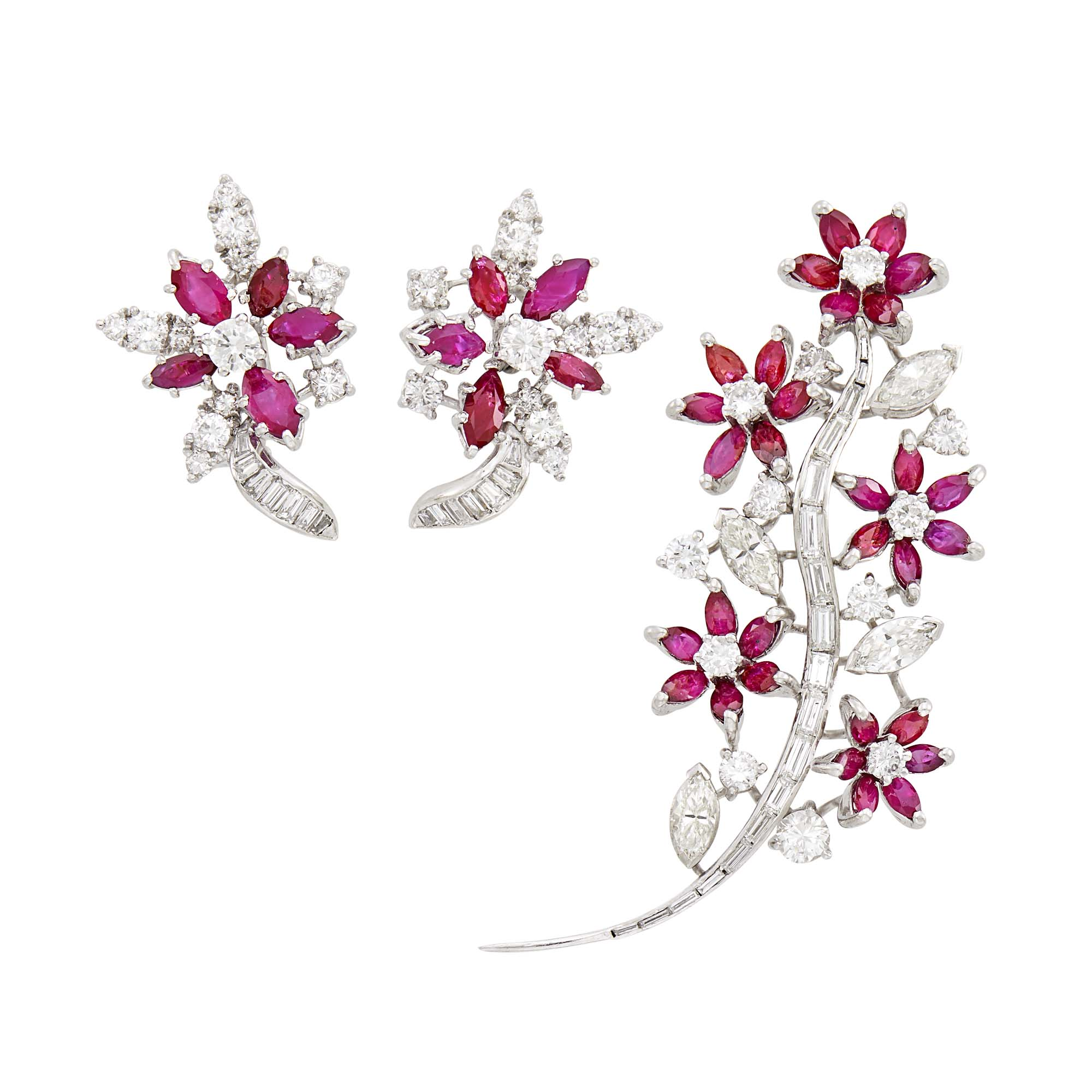 Lot image - Platinum, Ruby and Diamond Flower Brooch and Pair of Earclips
