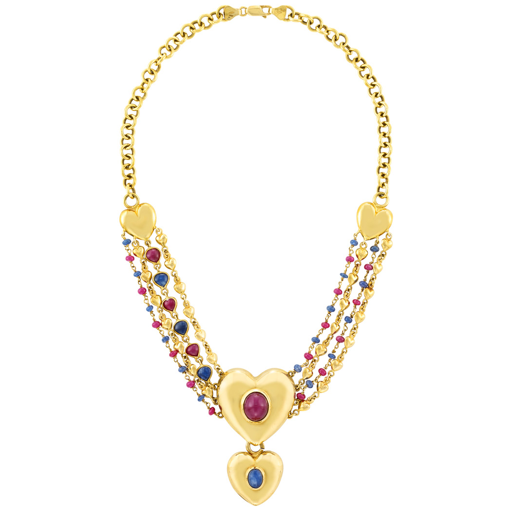 Lot image - Gold, Cabochon Ruby and Sapphire and Gem-Set Bead Chain Pendant-Necklace