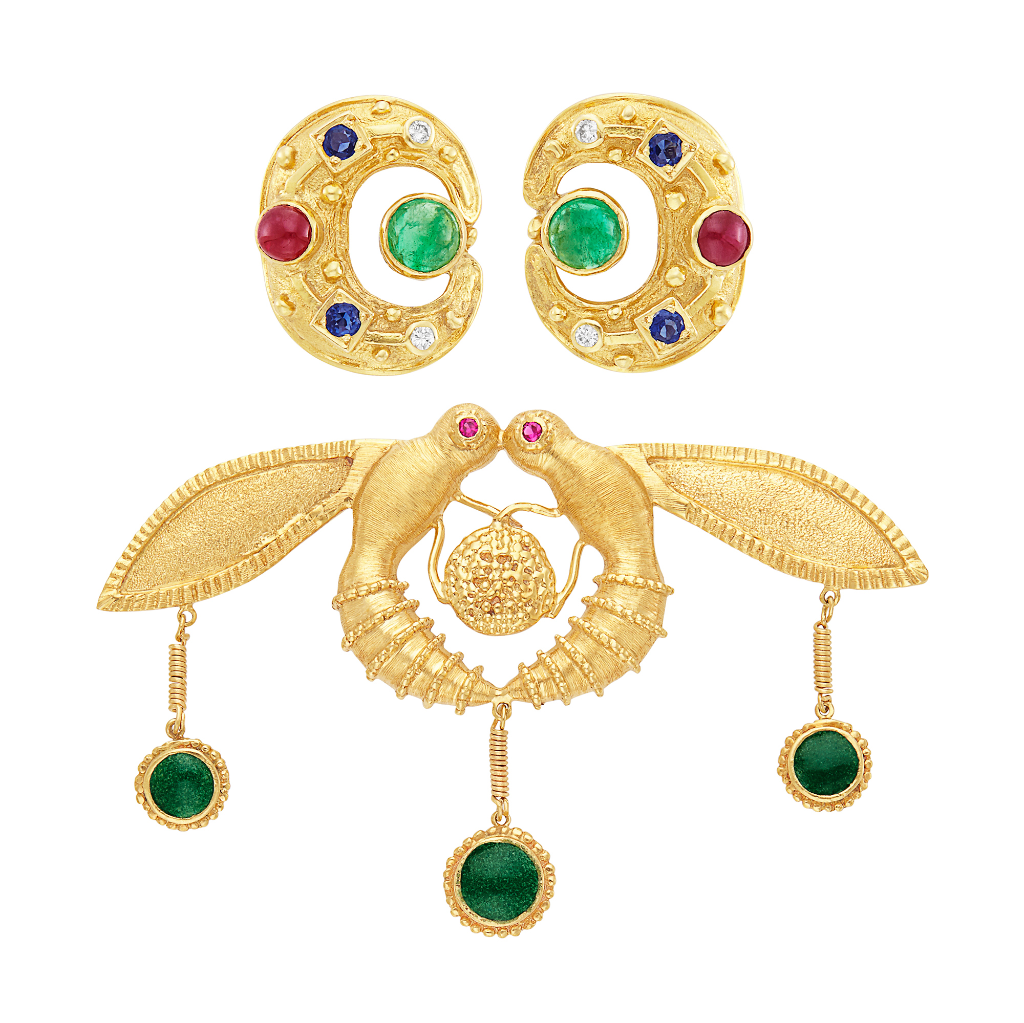 Lot image - Pair of Gold, Gem-Set and Diamond Earclips and Love Bird Brooch, Ilias Lalaounis
