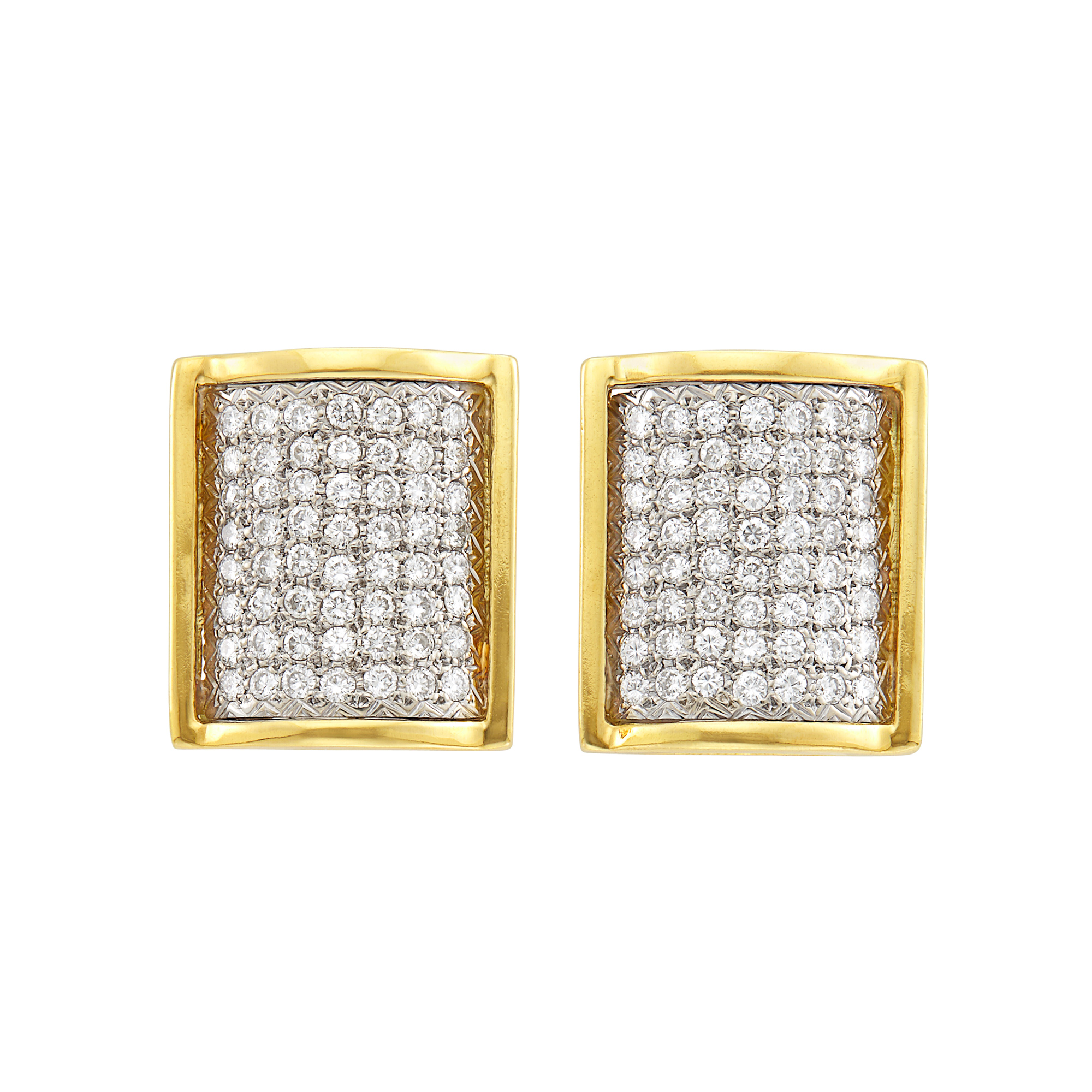 Lot image - Pair of Two-Color Gold and Diamond Earrings