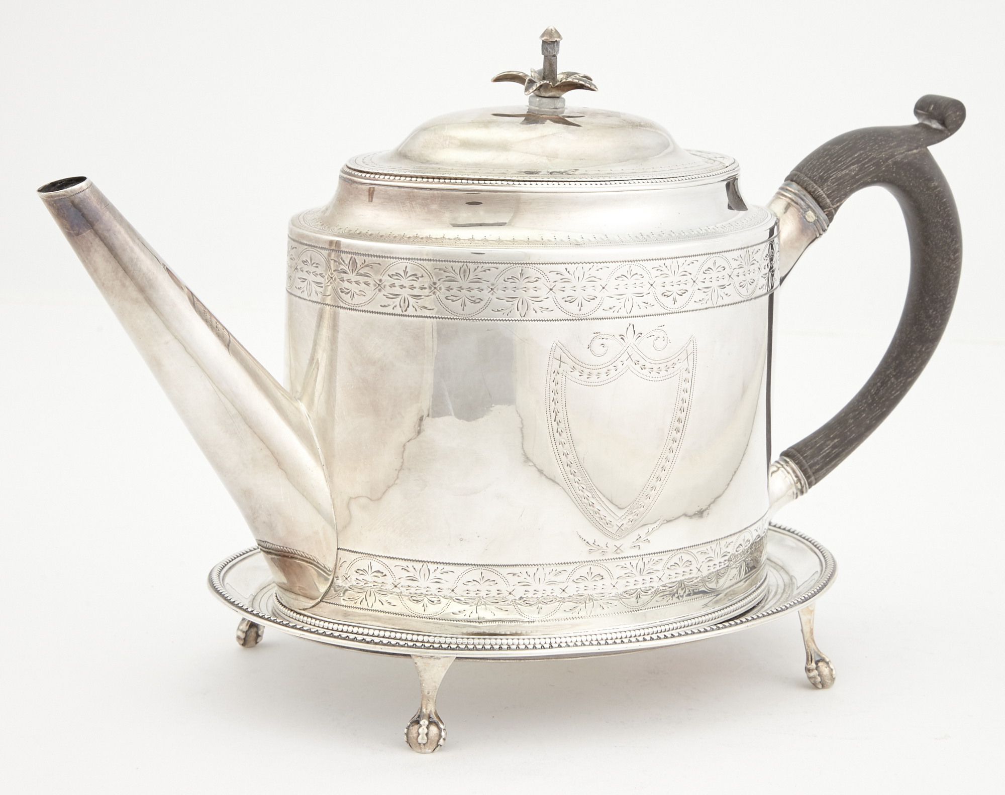 Lot image - George III Sterling Silver Teapot on Stand